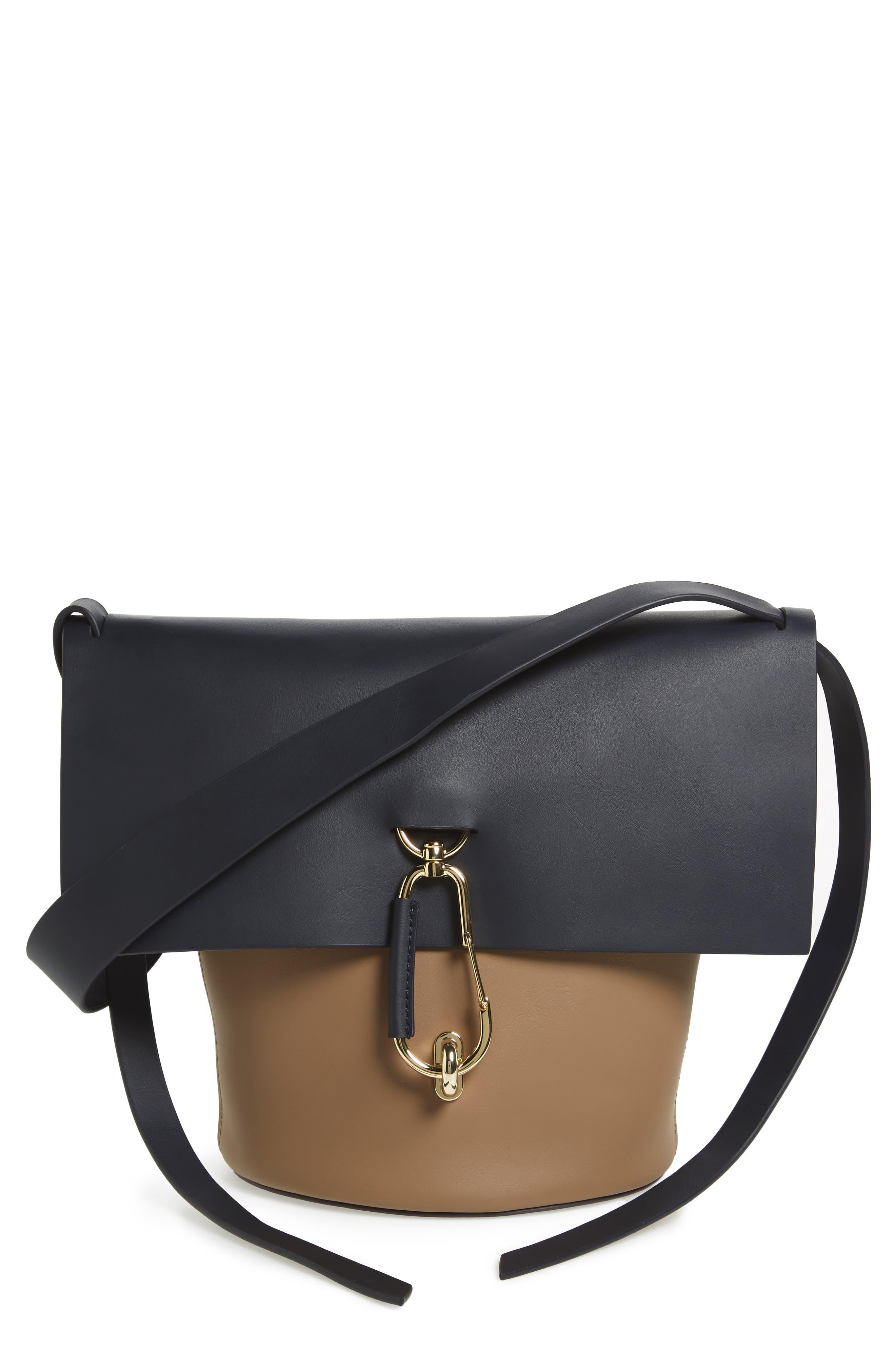 Belay Colorblock Calfskin Leather Bucket Bag,                             Main thumbnail 1, color,                             Navy Color Block