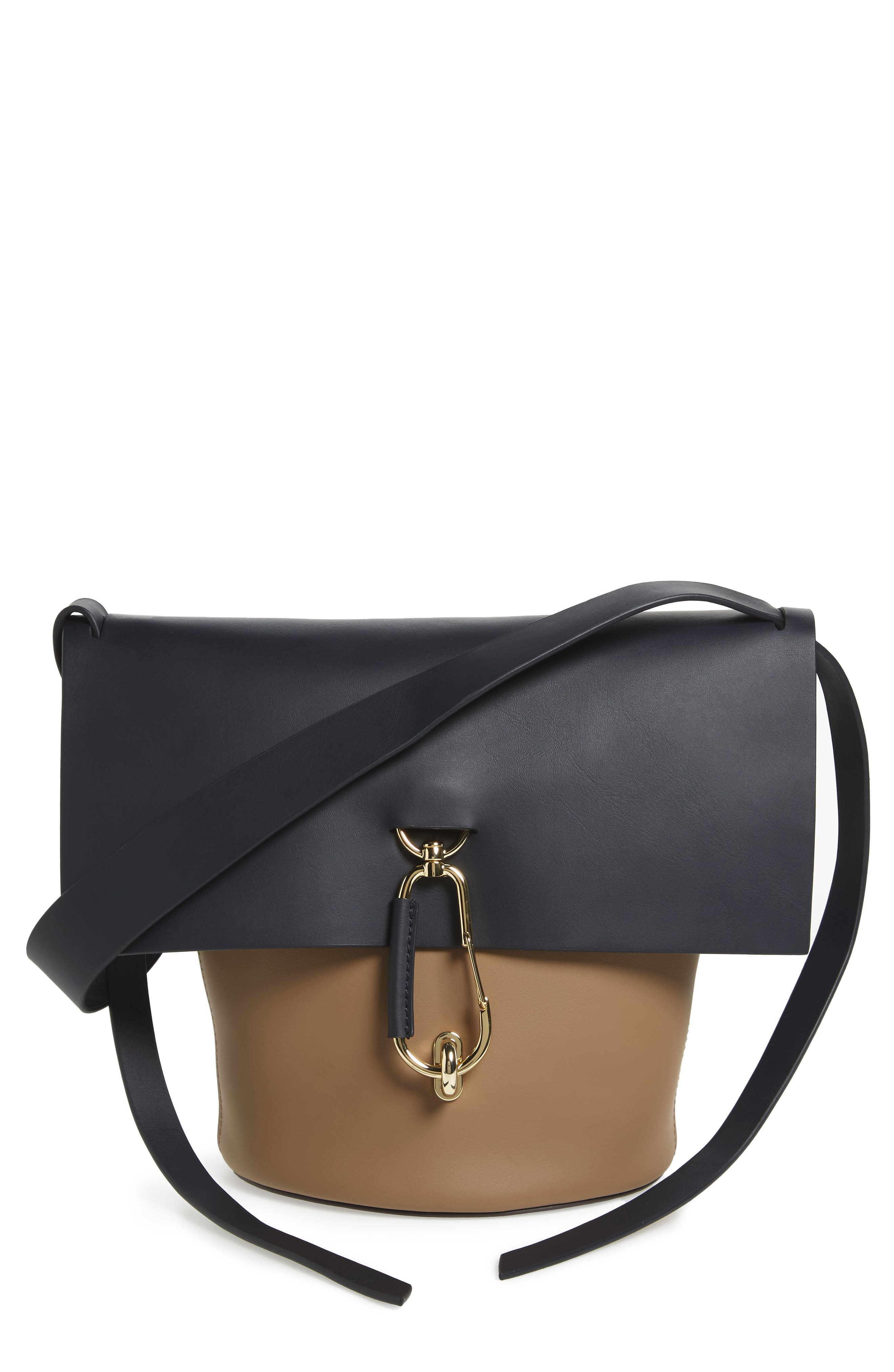Belay Colorblock Calfskin Leather Bucket Bag,                         Main,                         color, Navy Color Block