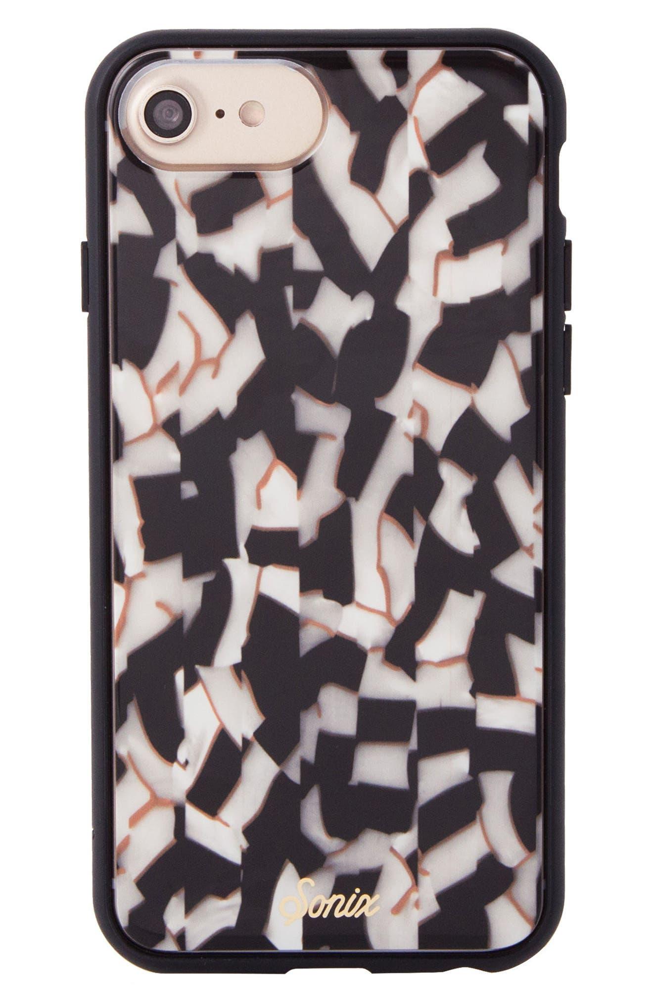 Pearlescent Black iPhone 6/6s/7/8 & 6/6s/7/8 Plus Case,                         Main,                         color, Black/ White