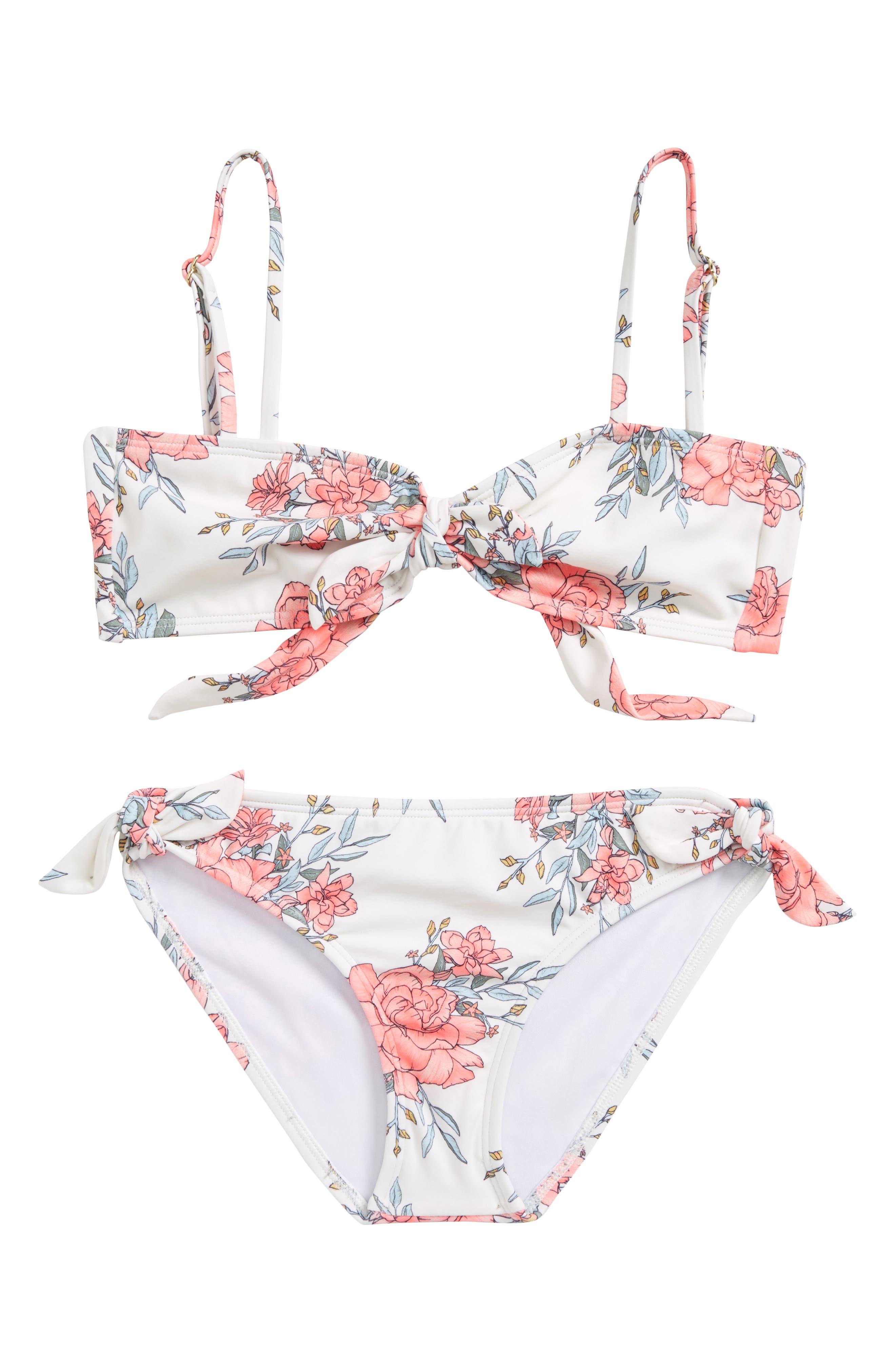 Nova Floral Two-Piece Swimsuit,                         Main,                         color, Seashell