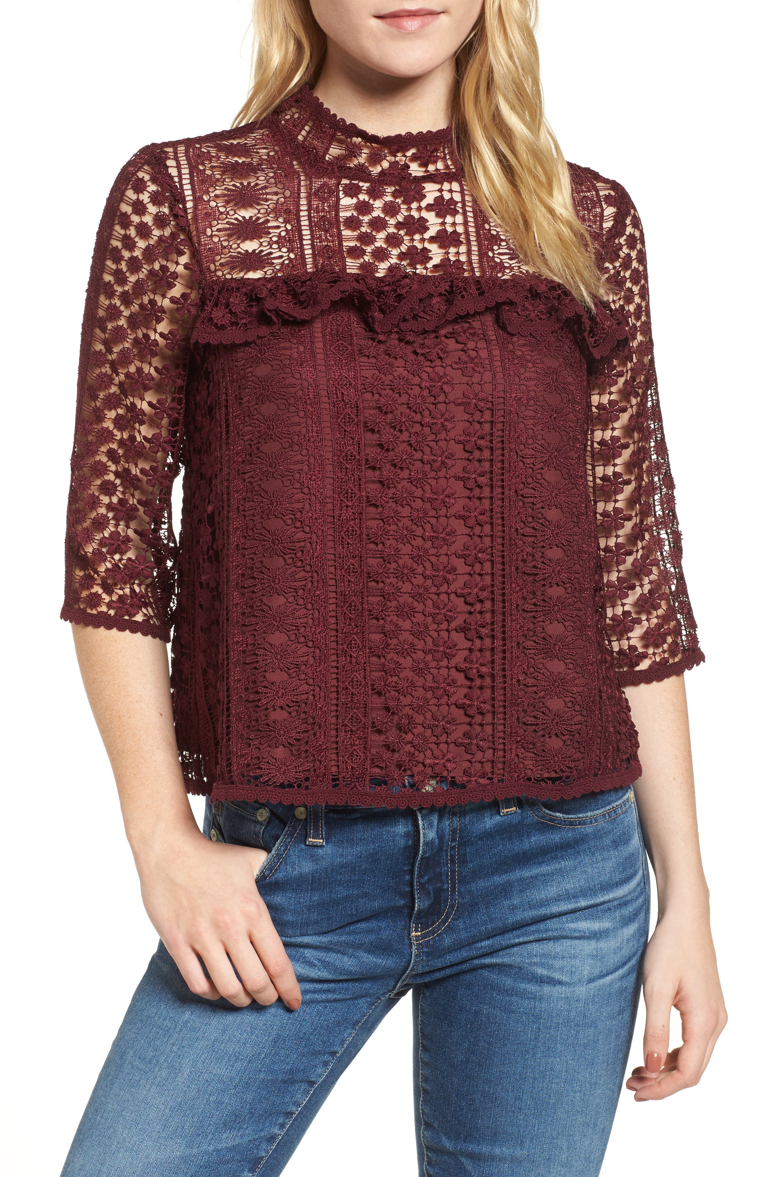 Main Image - cupcakes and cashmere Kebecka Lace Top