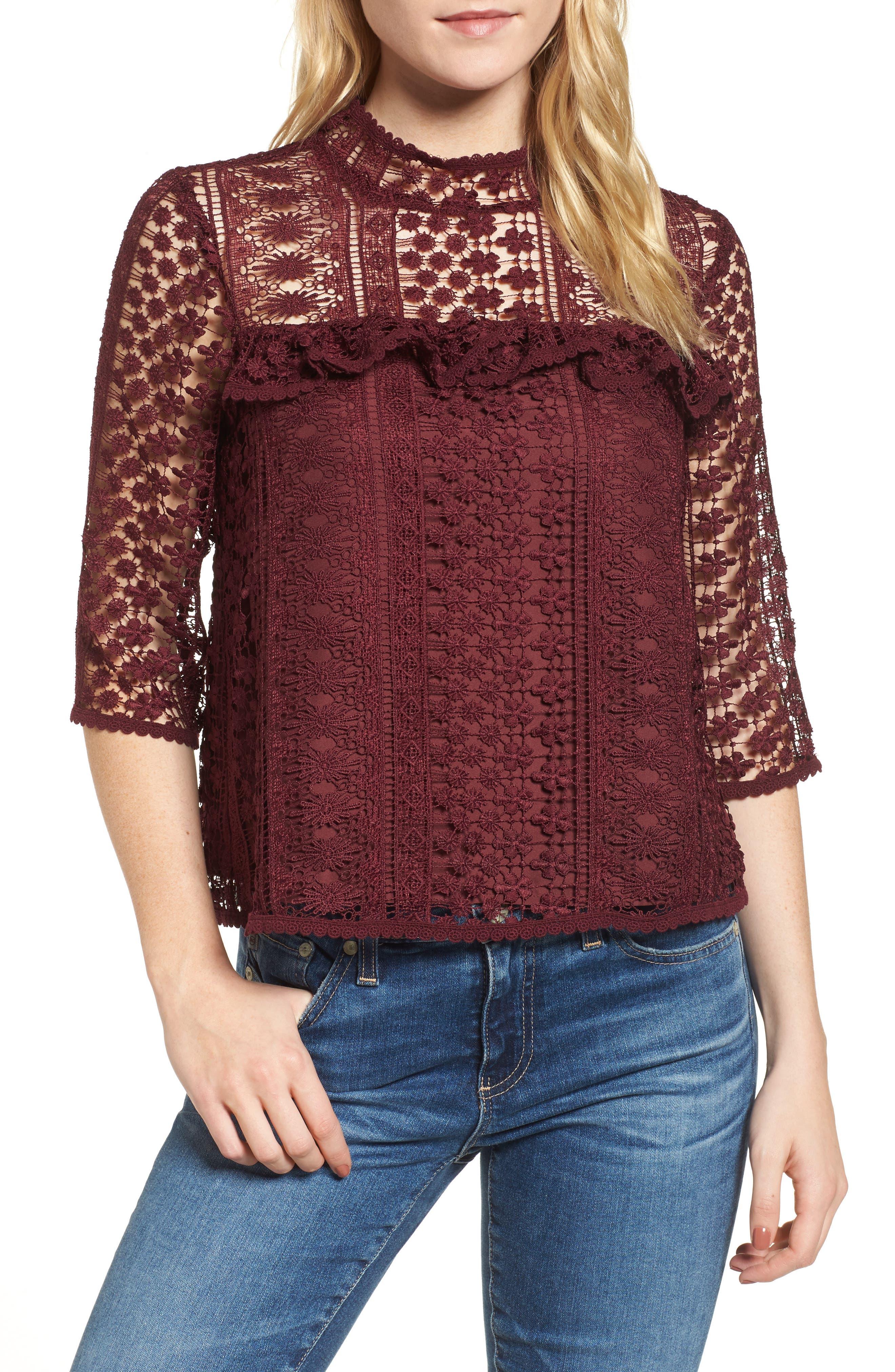 Kebecka Lace Top,                         Main,                         color, Malbec