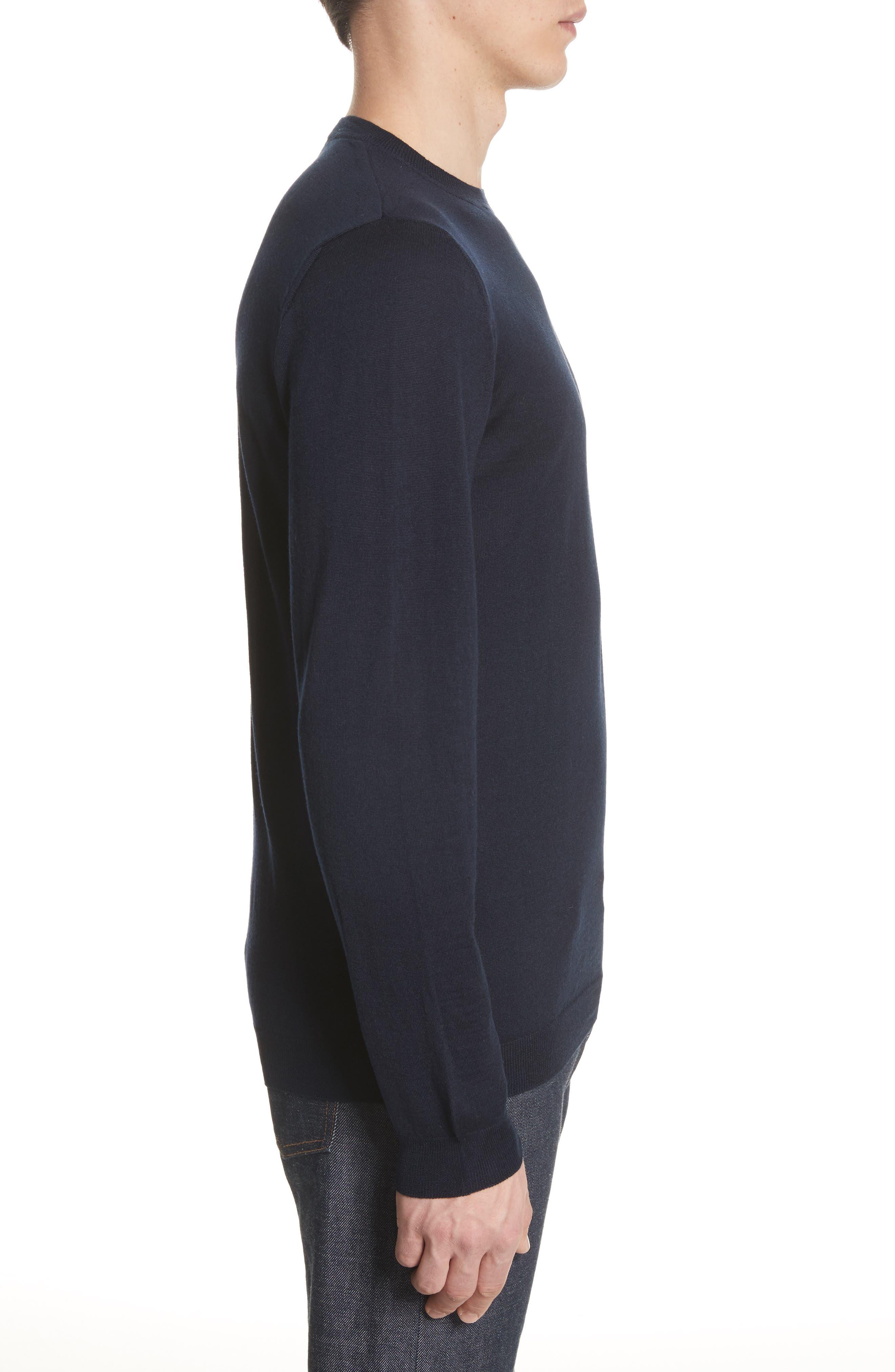 Sigfred Merino Wool & Silk Crewneck Sweater,                             Alternate thumbnail 3, color,                             Dark Navy