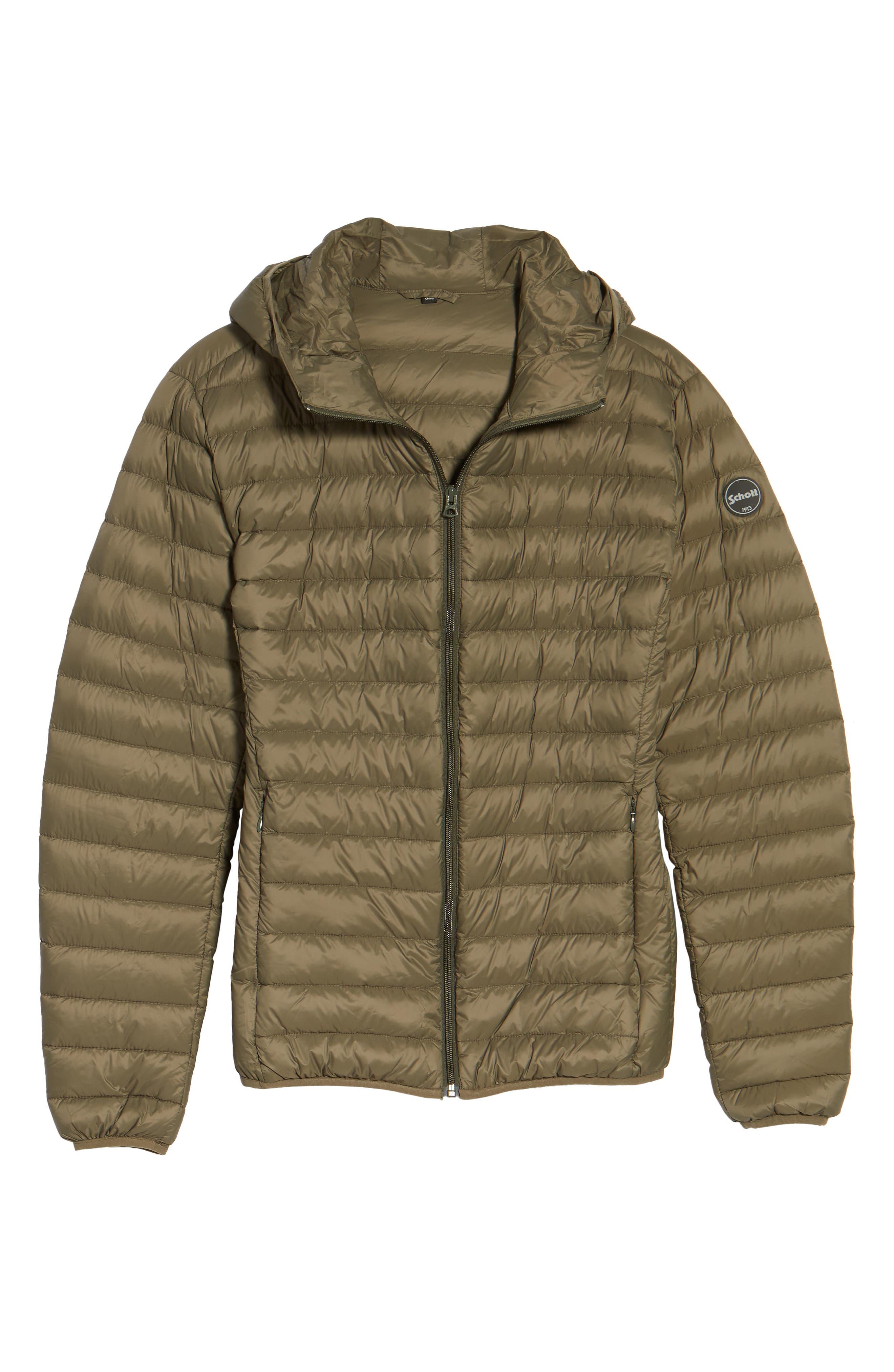 Zip Front Down Jacket,                             Alternate thumbnail 6, color,                             Olive