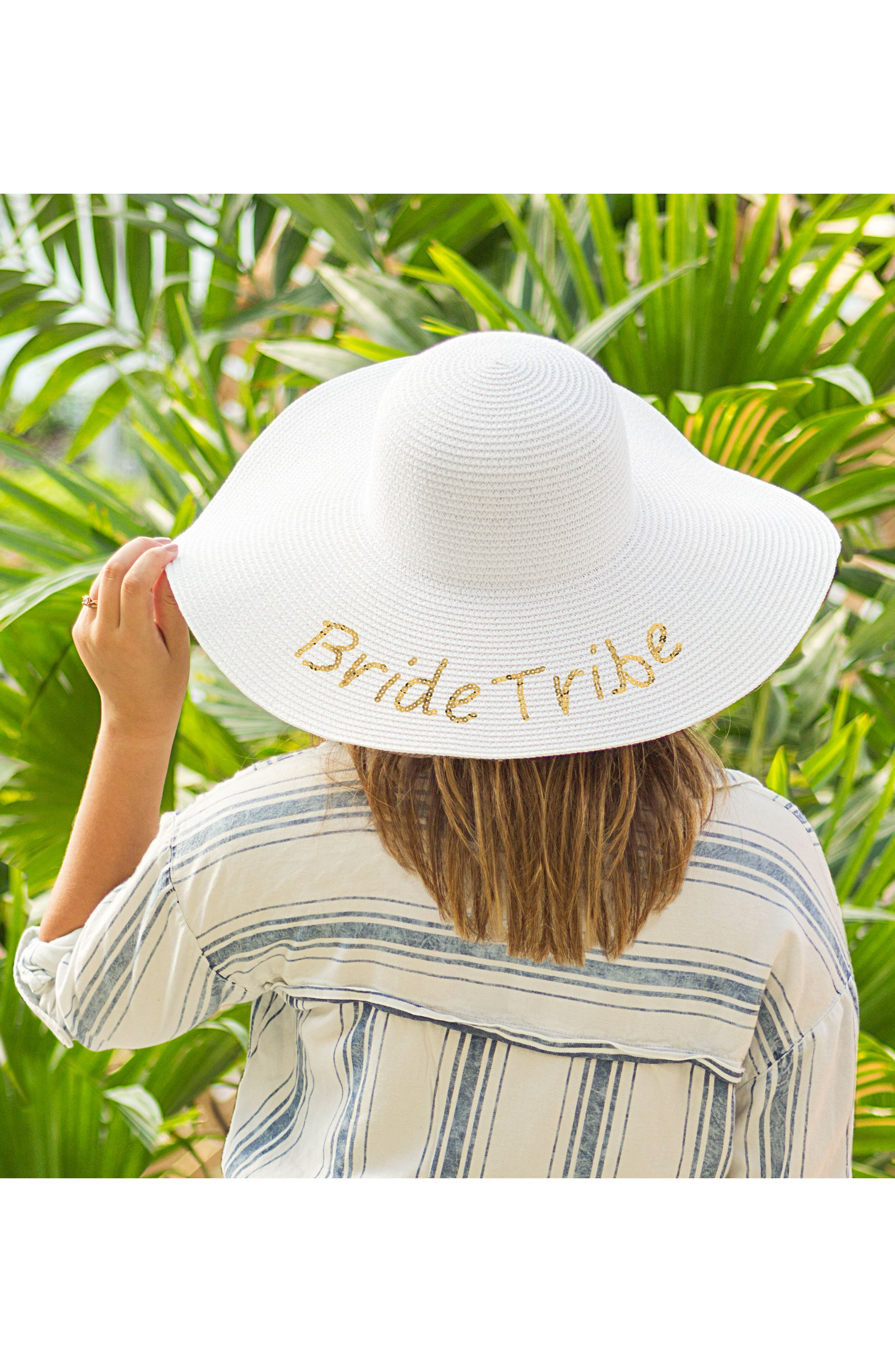 Sequin Bride Tribe Straw Hat,                             Alternate thumbnail 3, color,                             Gold
