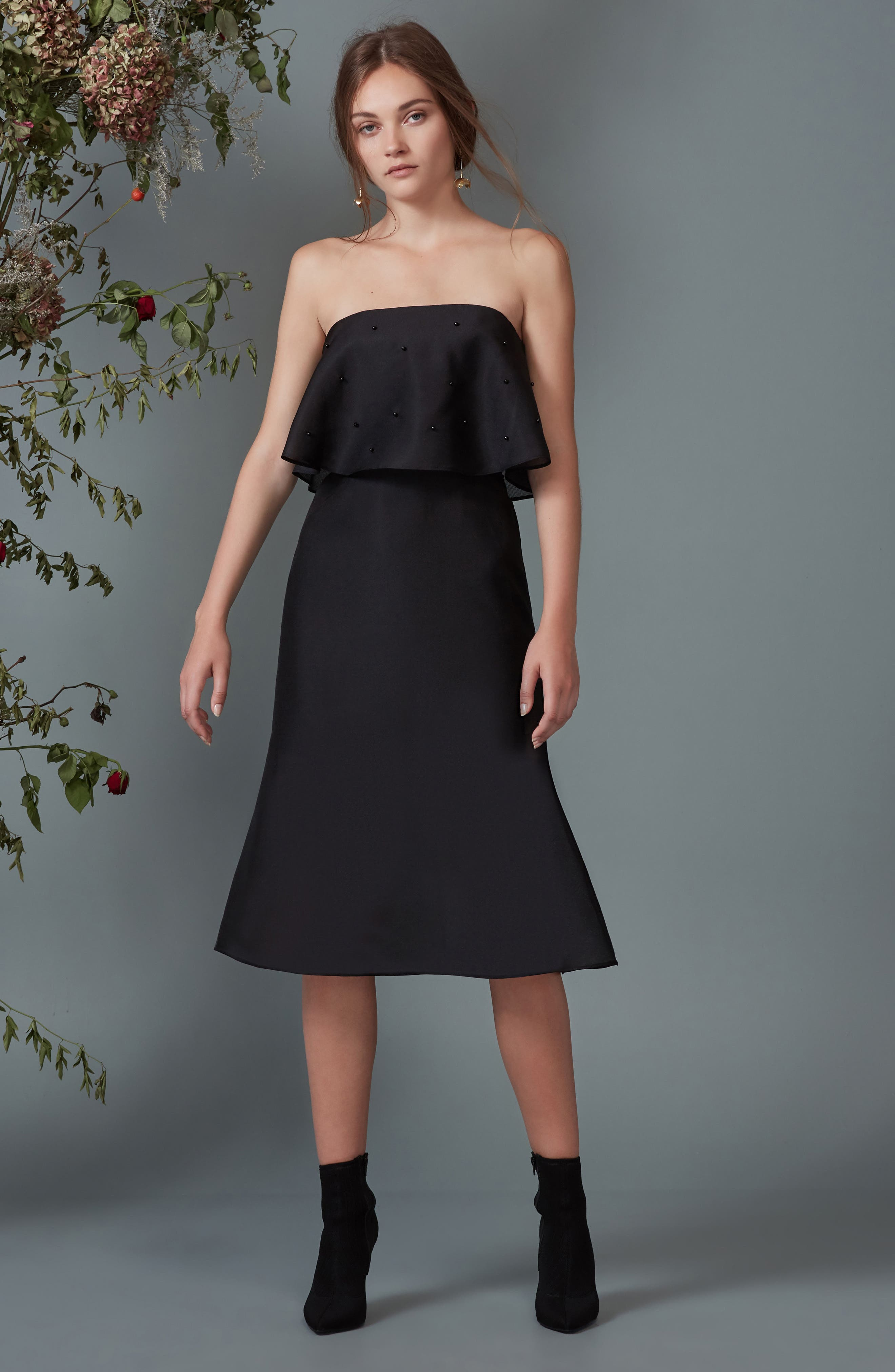 Call Me Strapless Dress,                             Alternate thumbnail 2, color,                             Black
