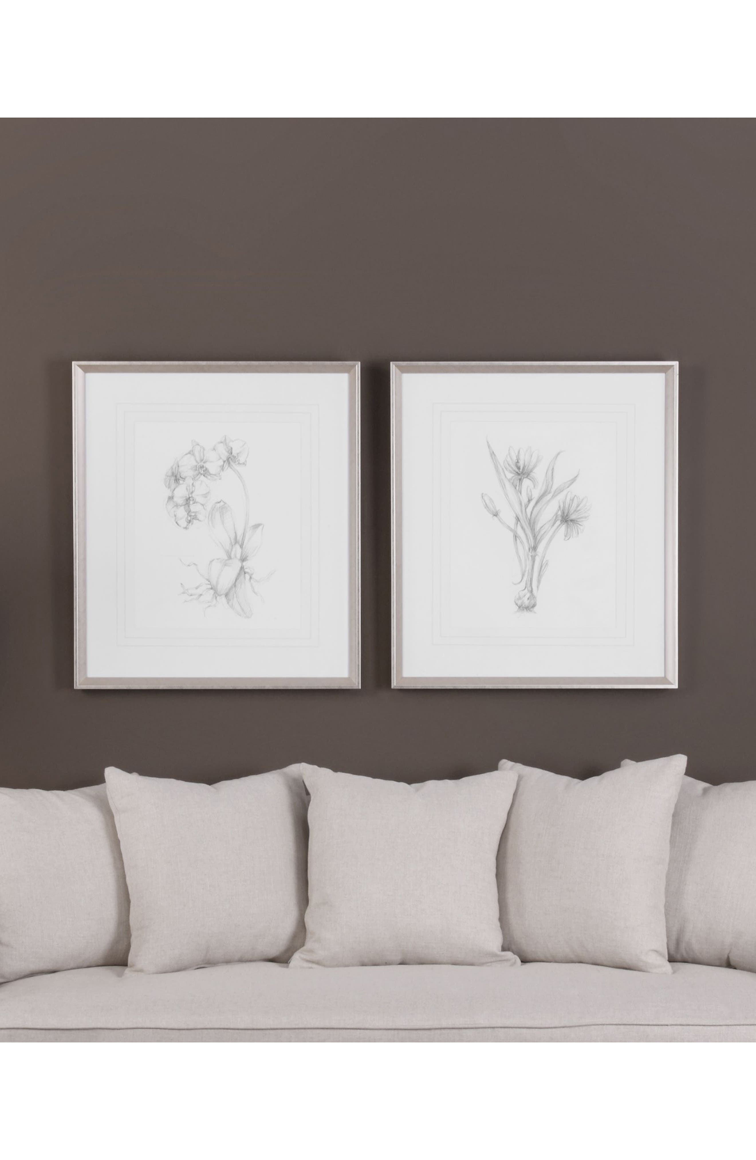 Botanical Sketch Set of 2 Art Prints,                             Alternate thumbnail 2, color,                             White