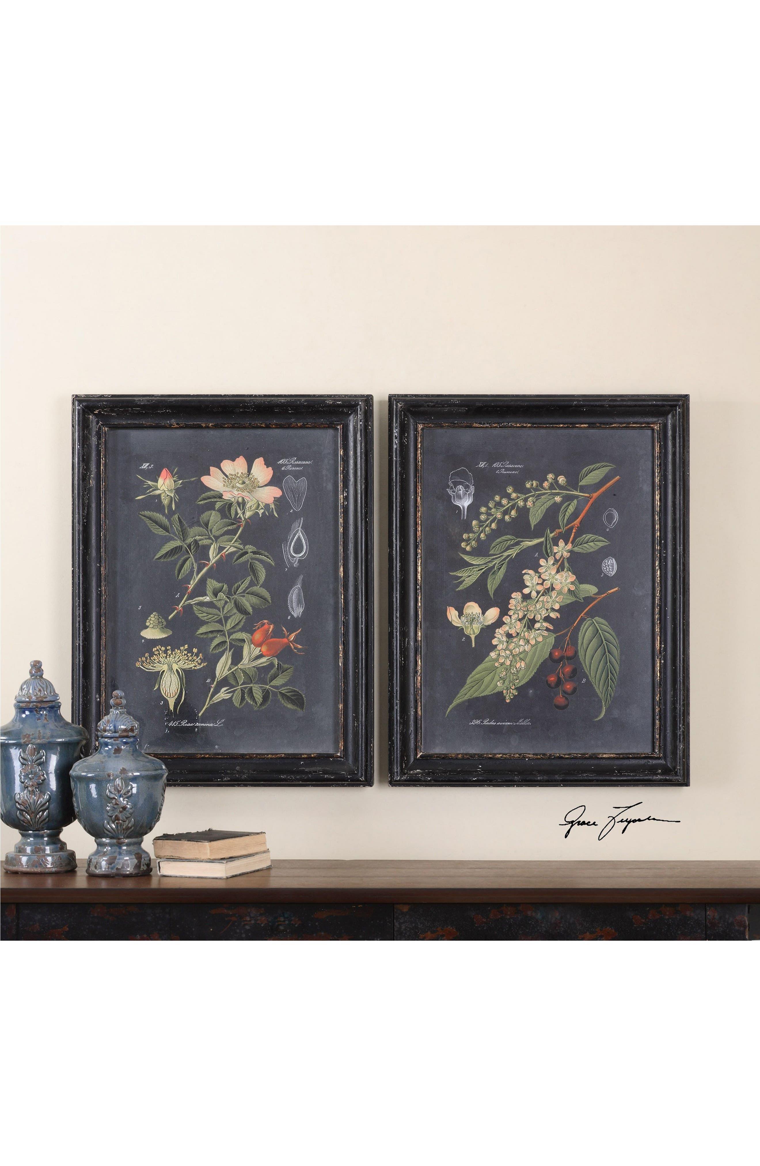 Midnight Botanicals Set of 2 Art Prints,                             Alternate thumbnail 2, color,                             Black