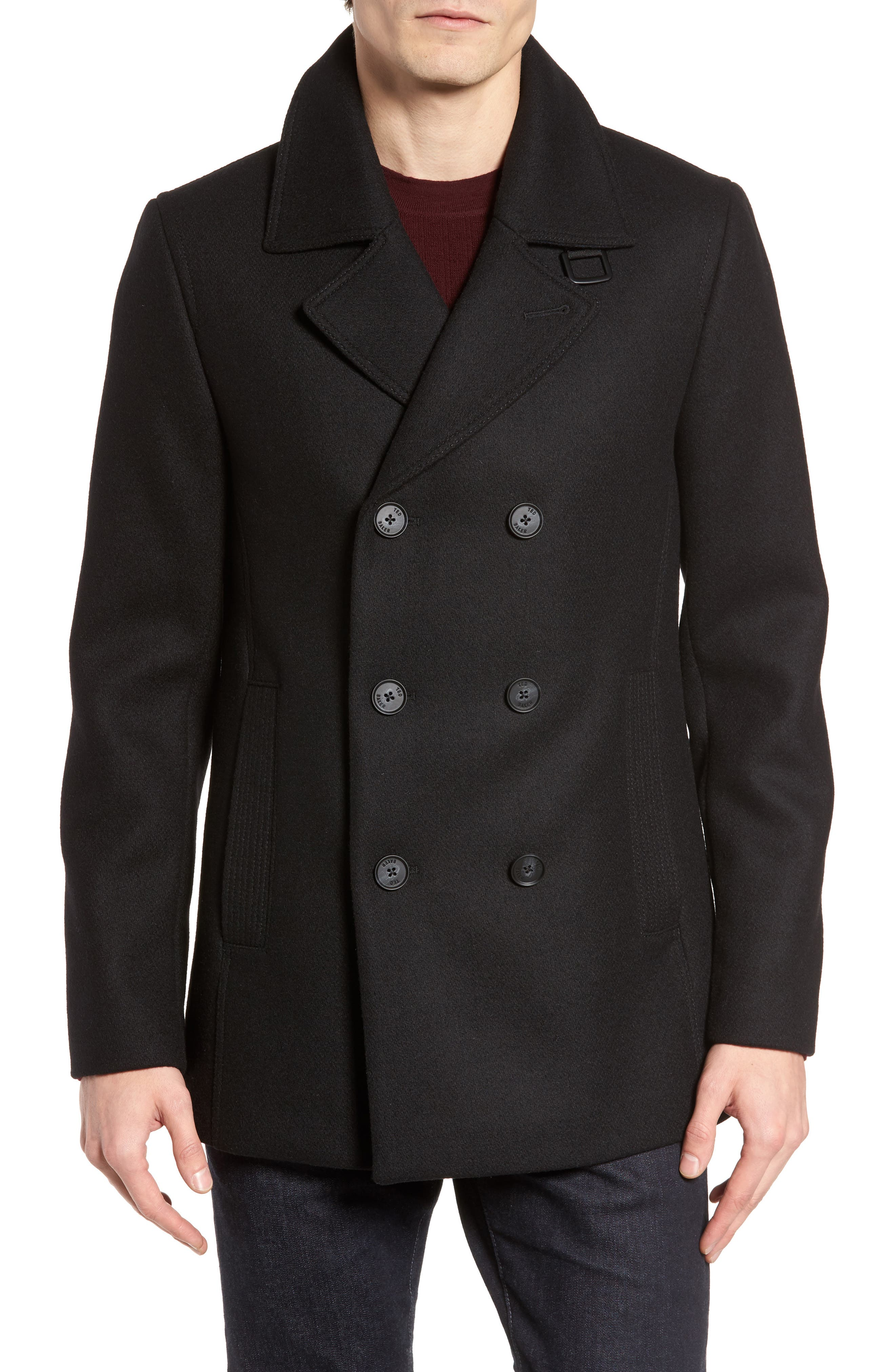 Zachary Trim Fit Double Breasted Peacoat,                         Main,                         color, Black