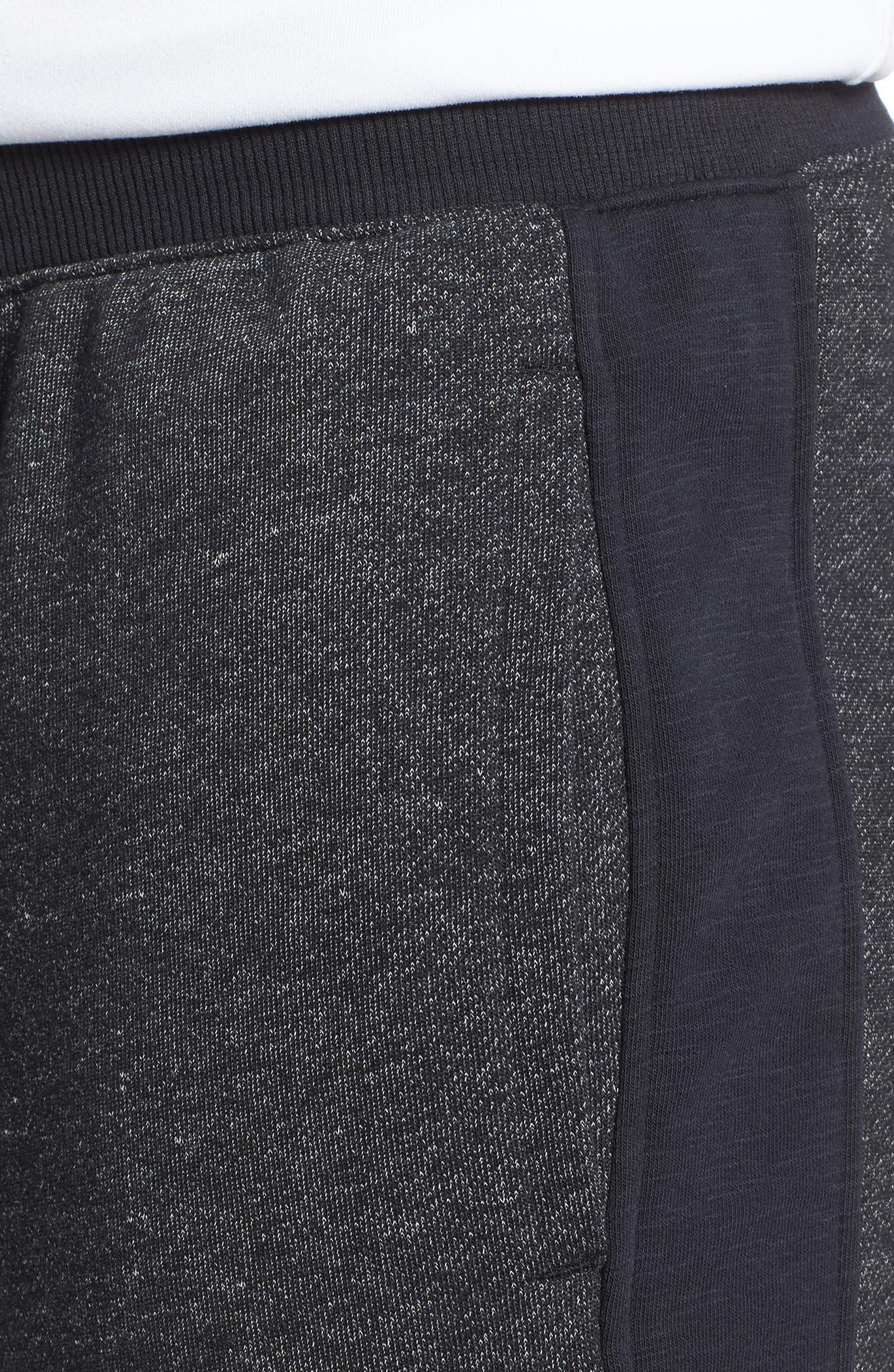Sportstyle Fitted Fleece Leggings,                             Alternate thumbnail 4, color,                             Black
