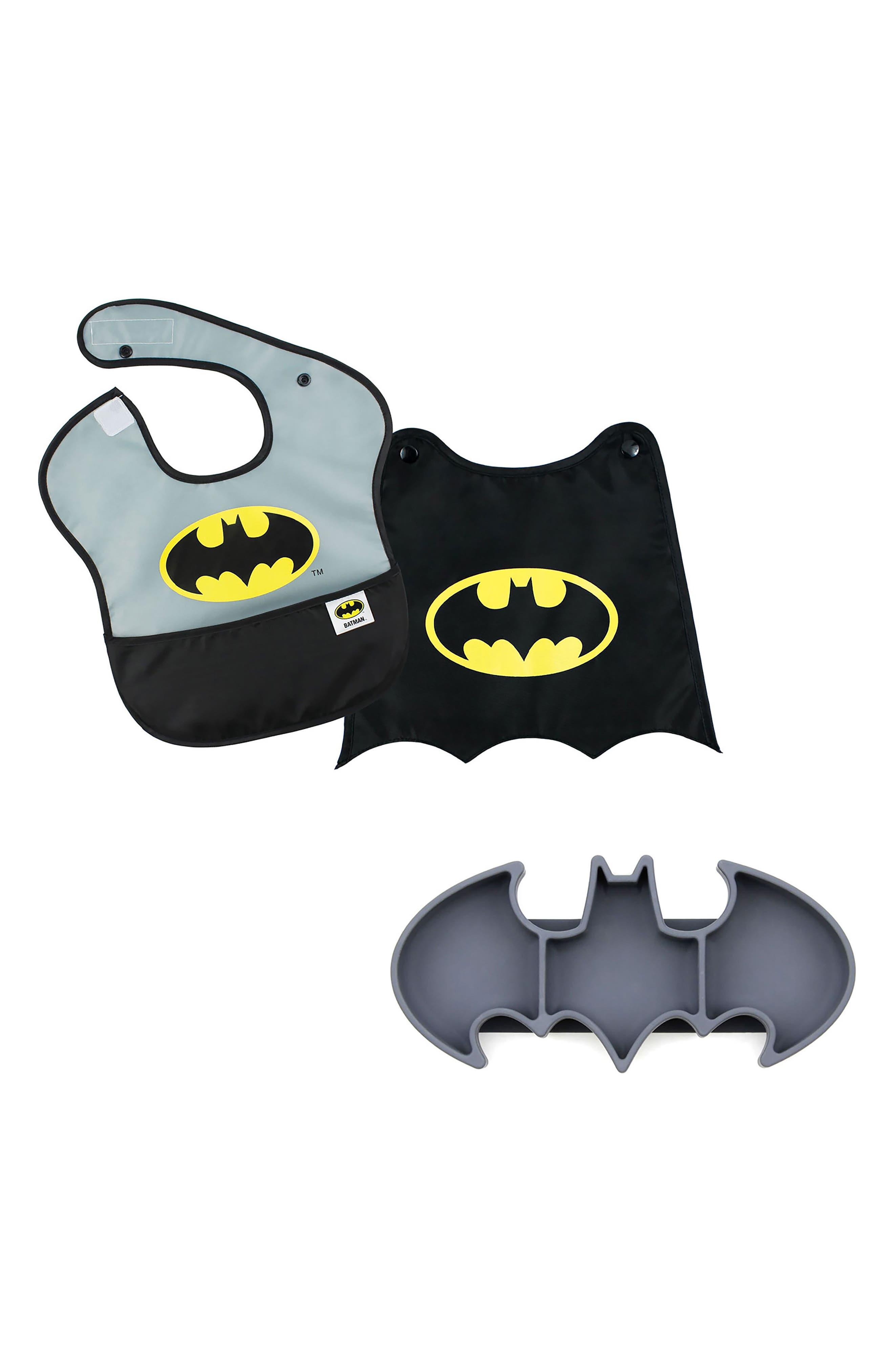 Alternate Image 1 Selected - Bumkins Batman Grip Dish & Caped SuperBib Set (Baby Boys)