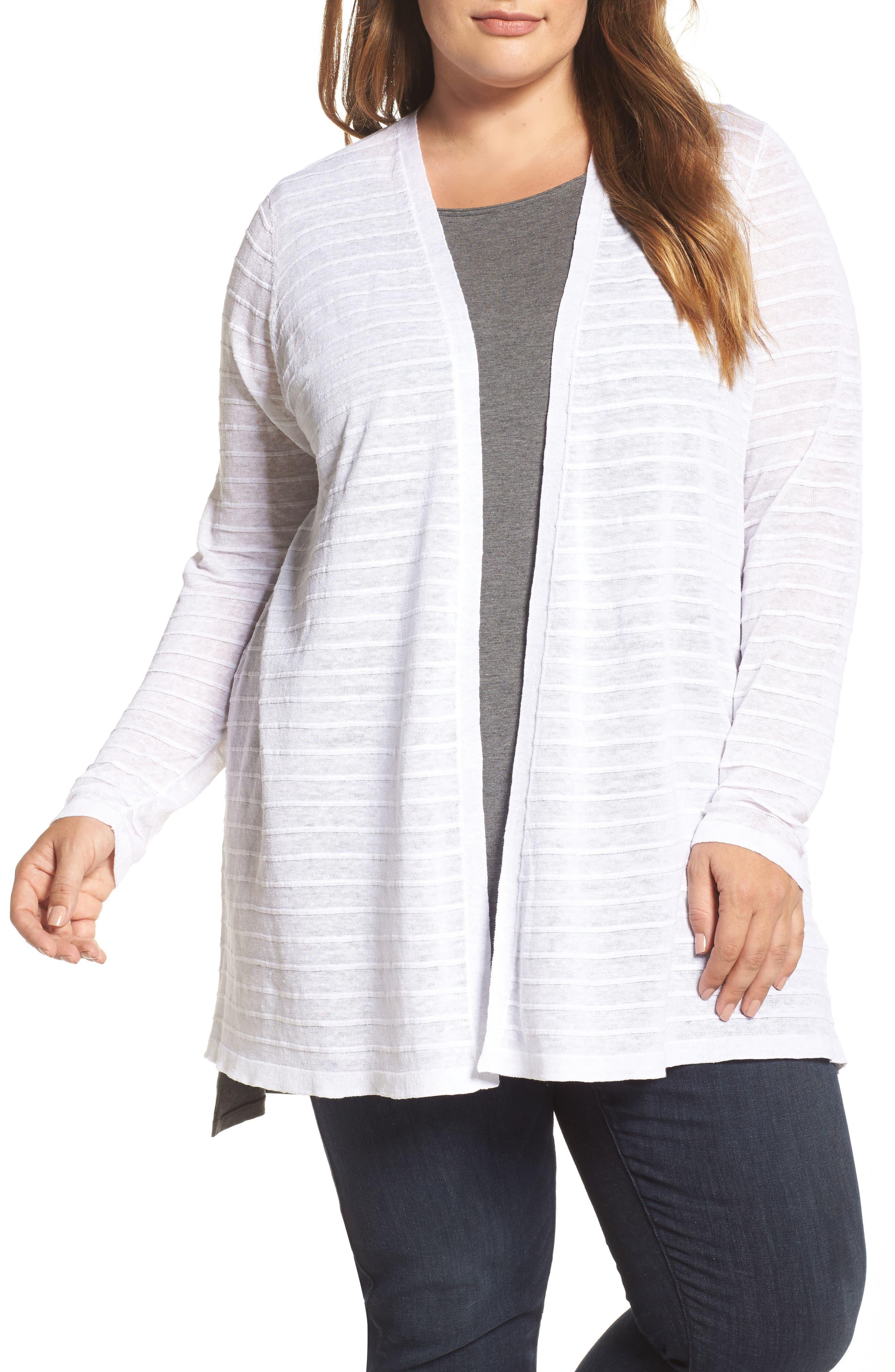 Eileen Fisher Shadow Stripe Organic Linen Cardigan (Plus Size)