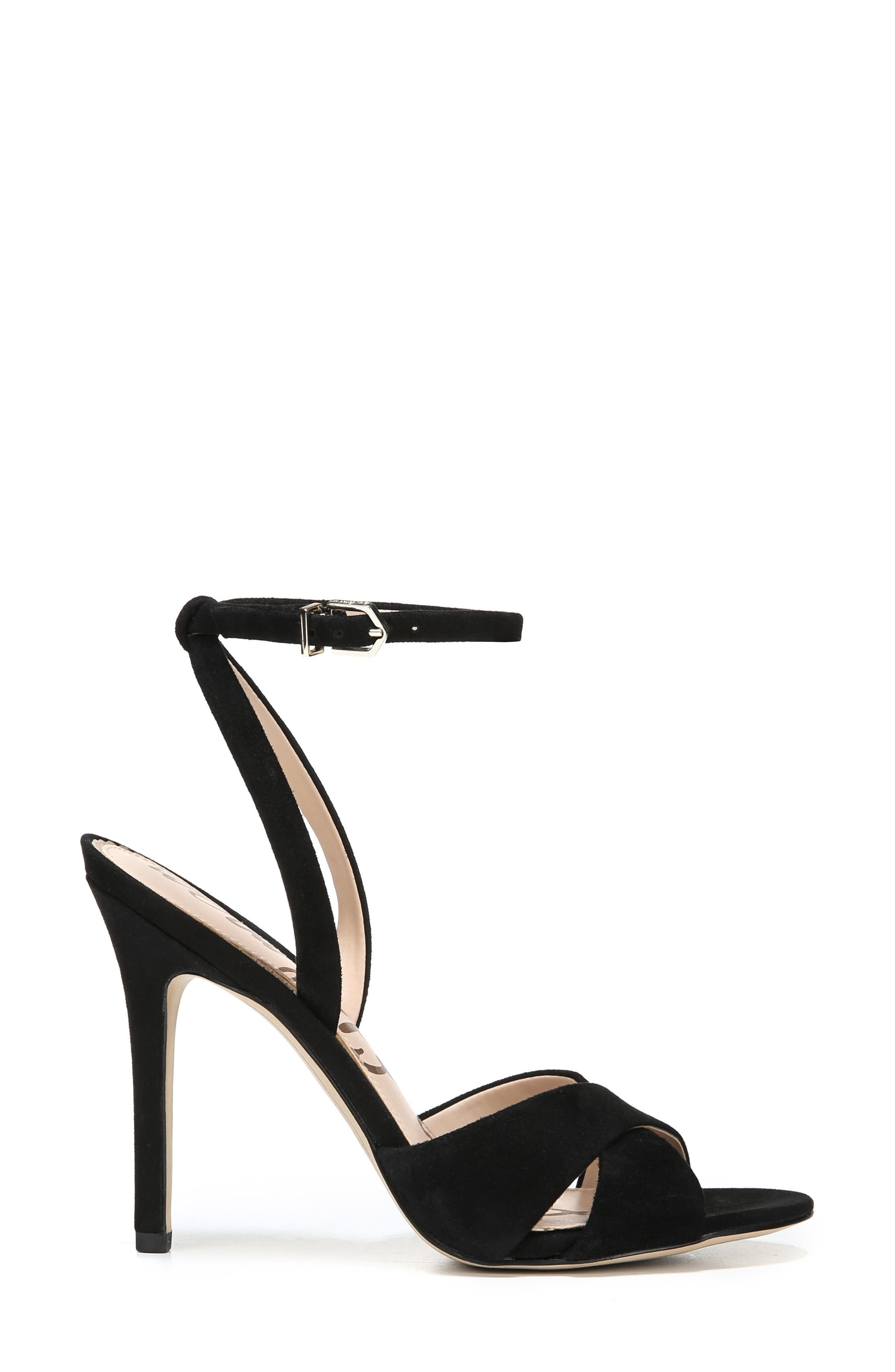 Aly Ankle Strap Sandal,                             Alternate thumbnail 5, color,                             Black Suede