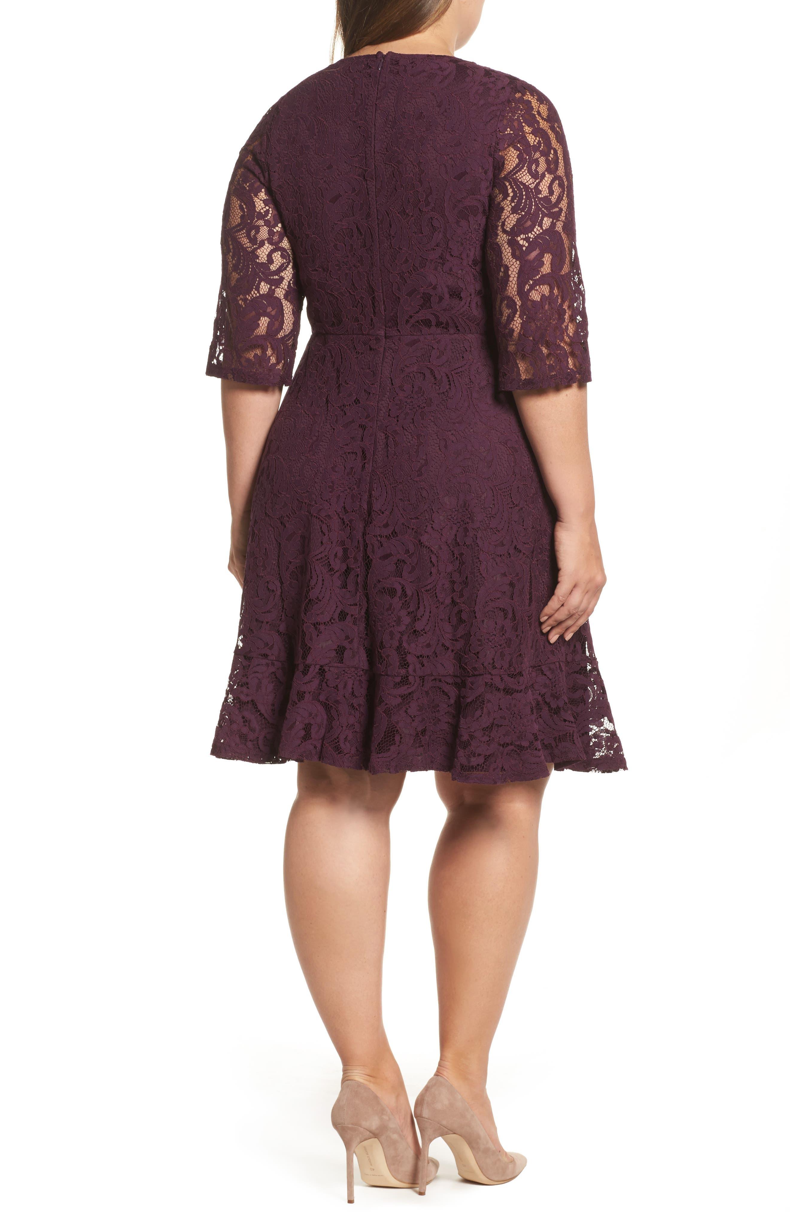 Lace Fit & Flare Dress,                             Alternate thumbnail 2, color,                             Burgundy