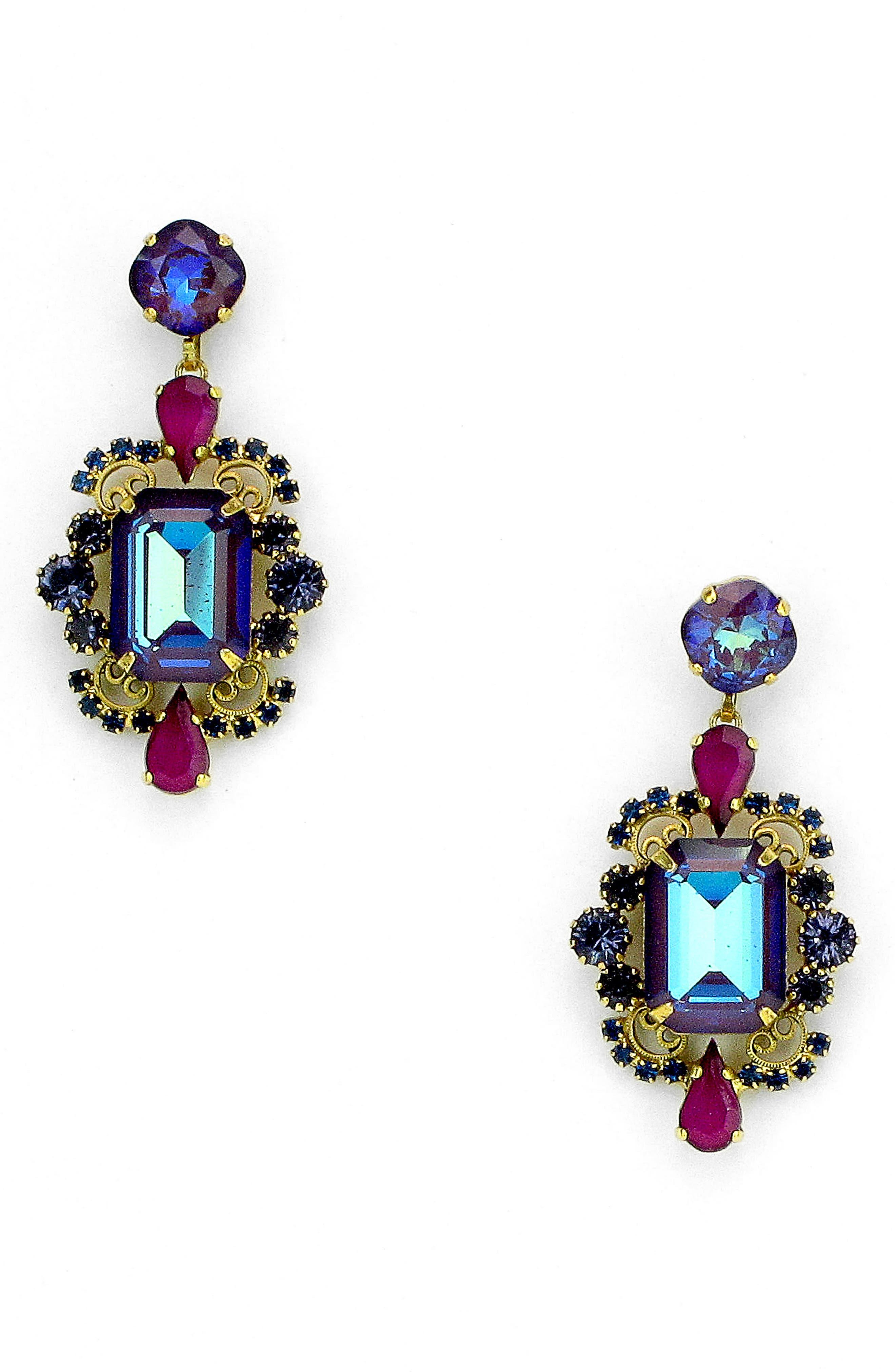 Reagan Drop Earrings,                         Main,                         color, Purple