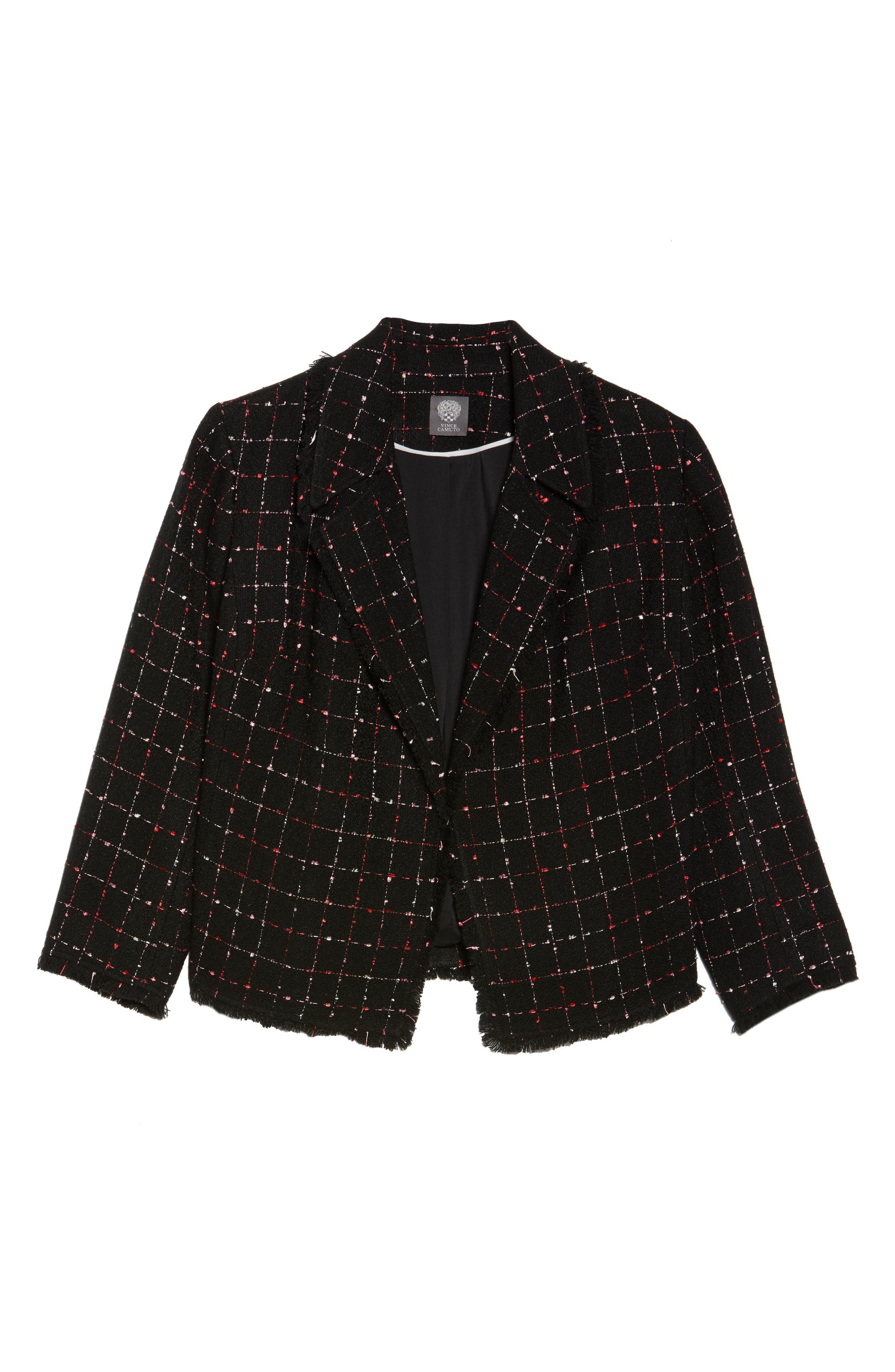 Spring Windowpane Tweed Jacket,                             Alternate thumbnail 7, color,                             Rich Black