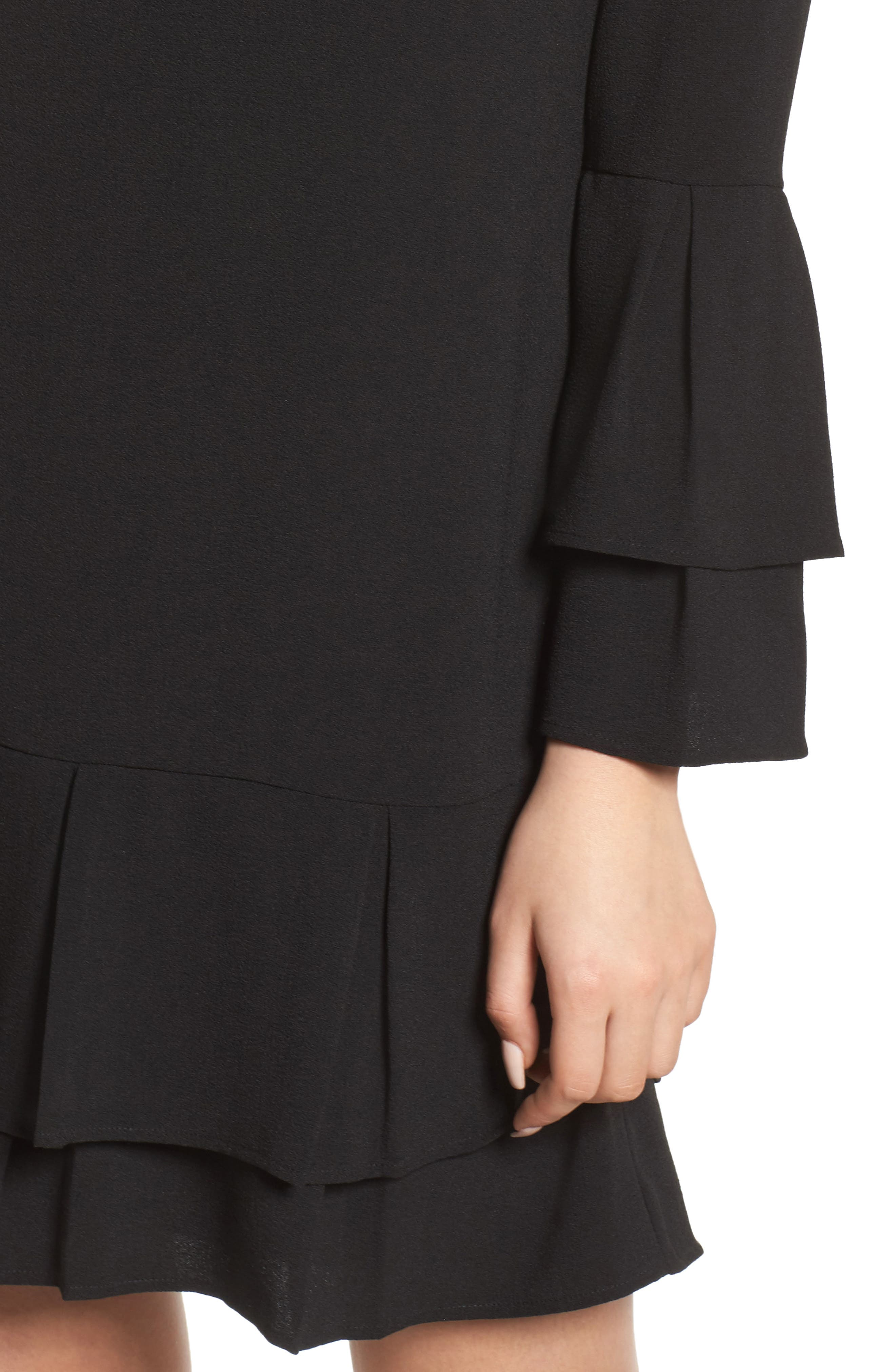 Tiered Sleeve Shift Dress,                             Alternate thumbnail 4, color,                             Black