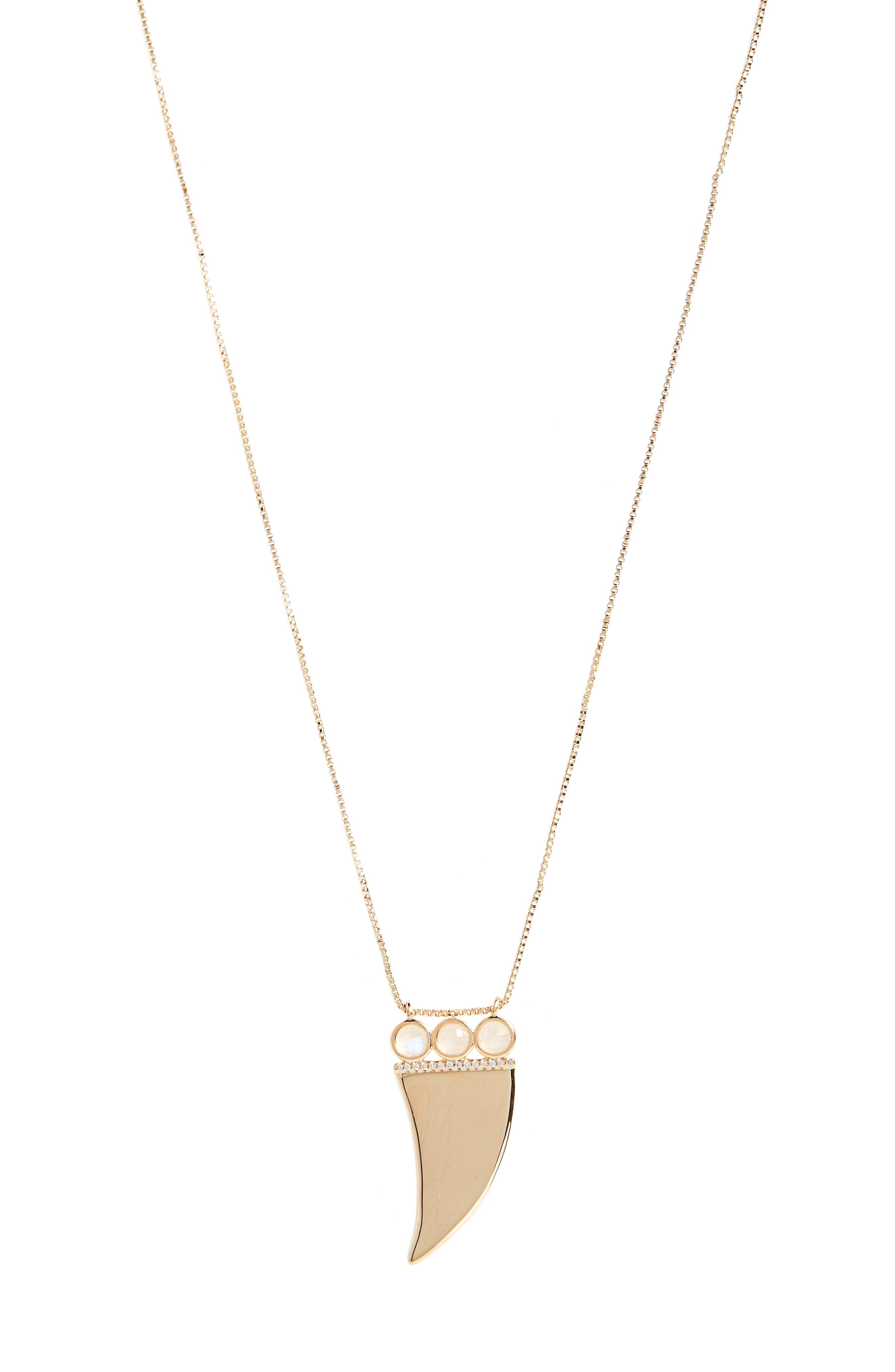Hendrix Horn Pendant Necklace,                         Main,                         color, Moonstone/ Gold