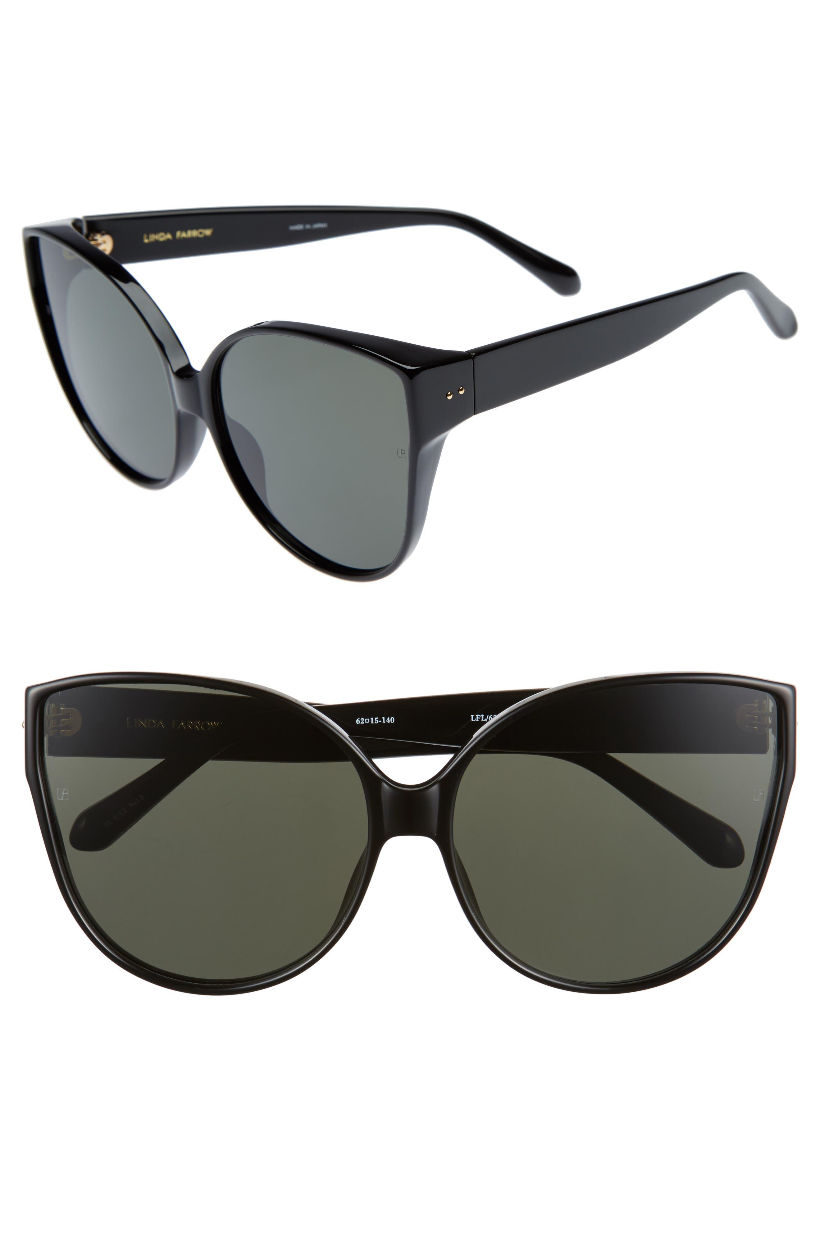 Main Image - Linda Farrow 62mm Oversize Cat Eye Sunglasses