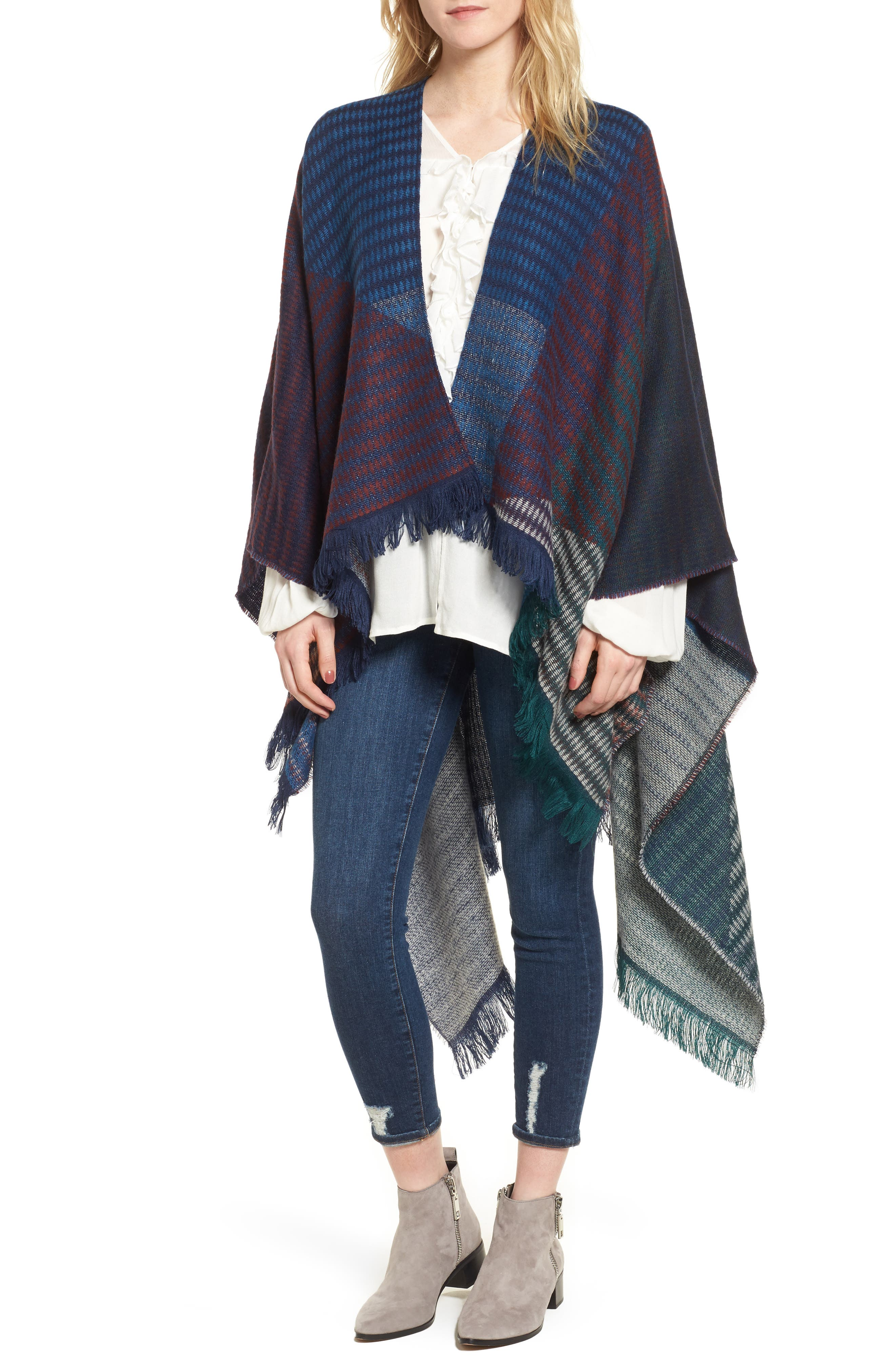 Geo Check Ruana,                             Main thumbnail 1, color,                             Navy Multi
