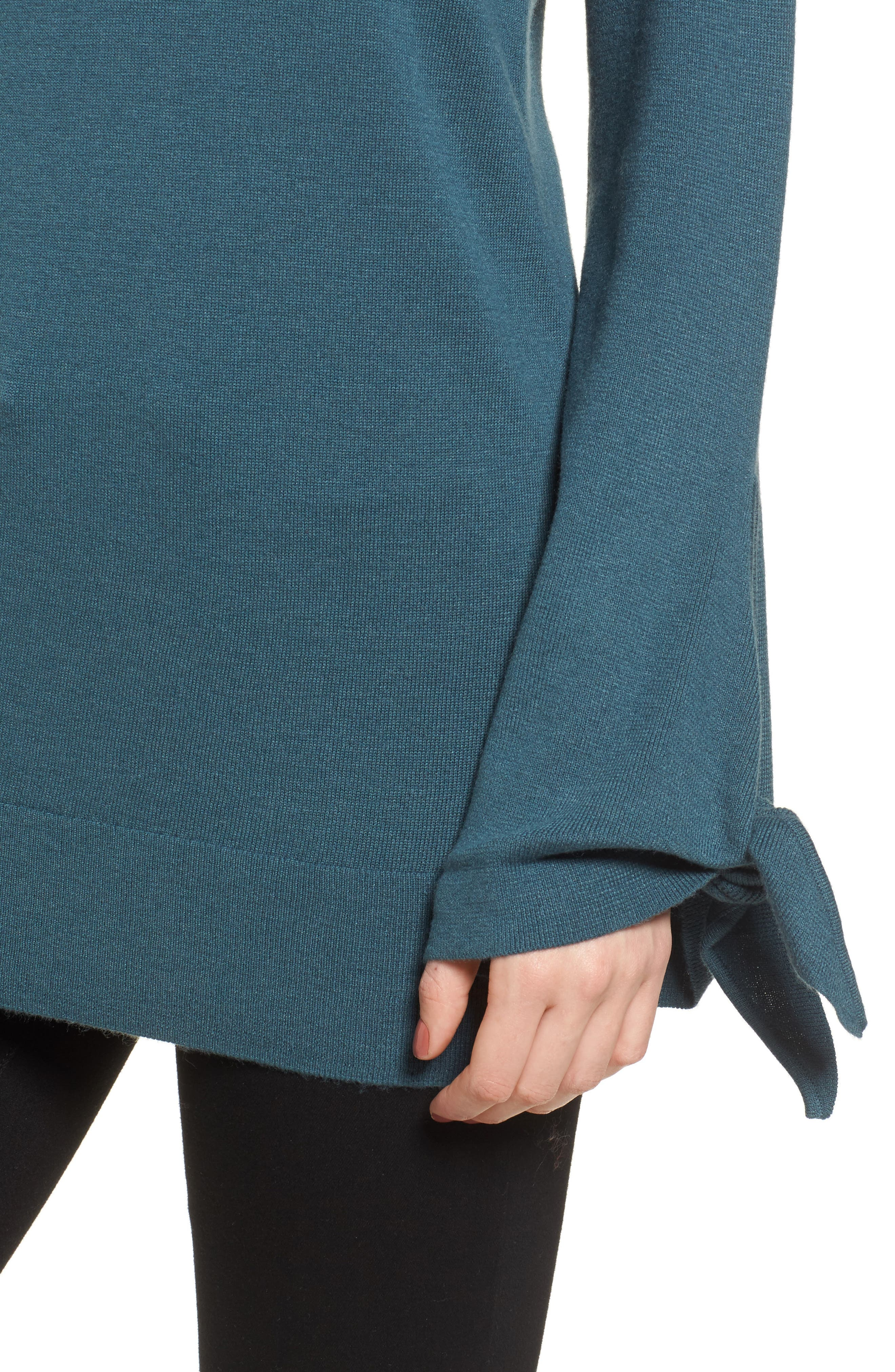 Tie Sleeve Sweater,                             Alternate thumbnail 4, color,                             Teal Gazer