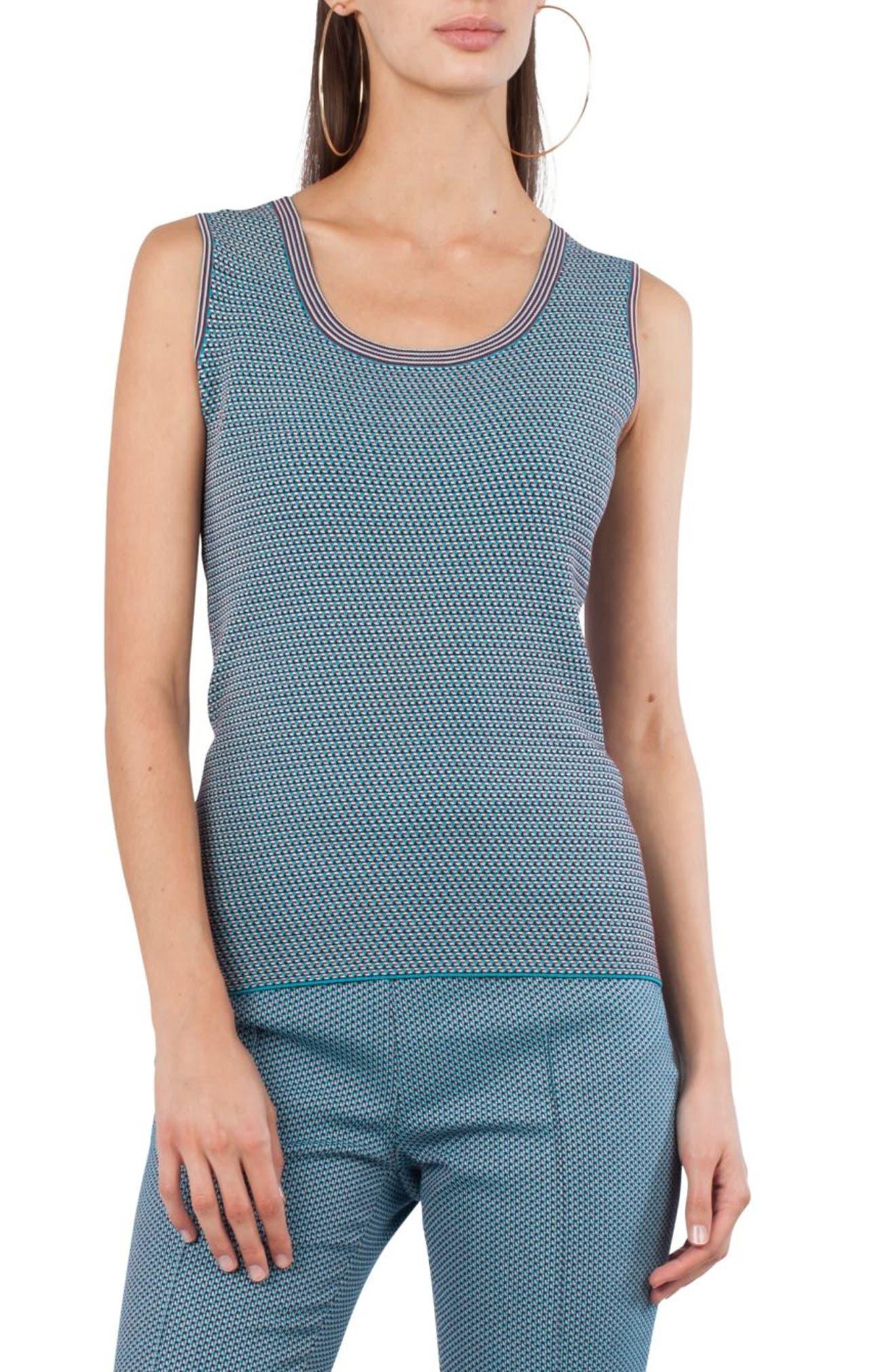 Fantasy Jacquard Knit Top,                         Main,                         color, Turquoise Multi