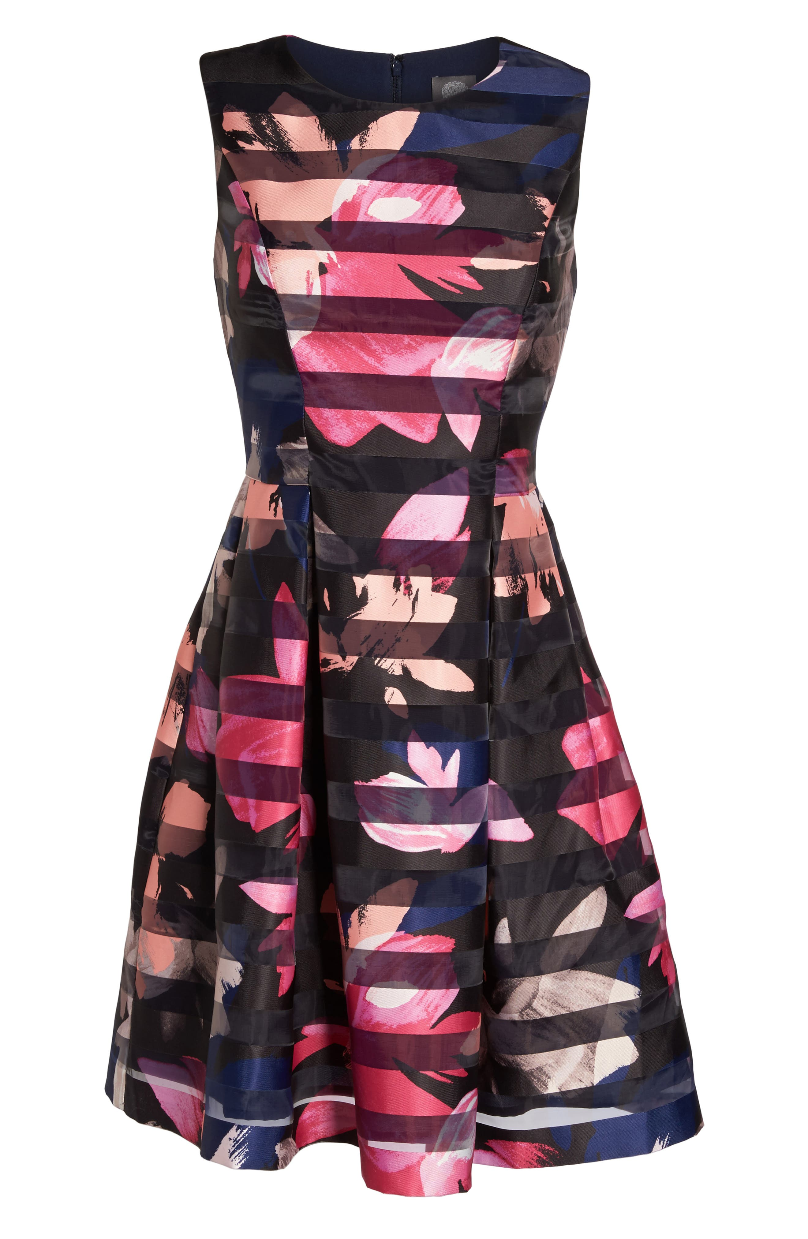Alternate Image 6  - Vince Camuto Shadow Stripe Fit & Flare Dress