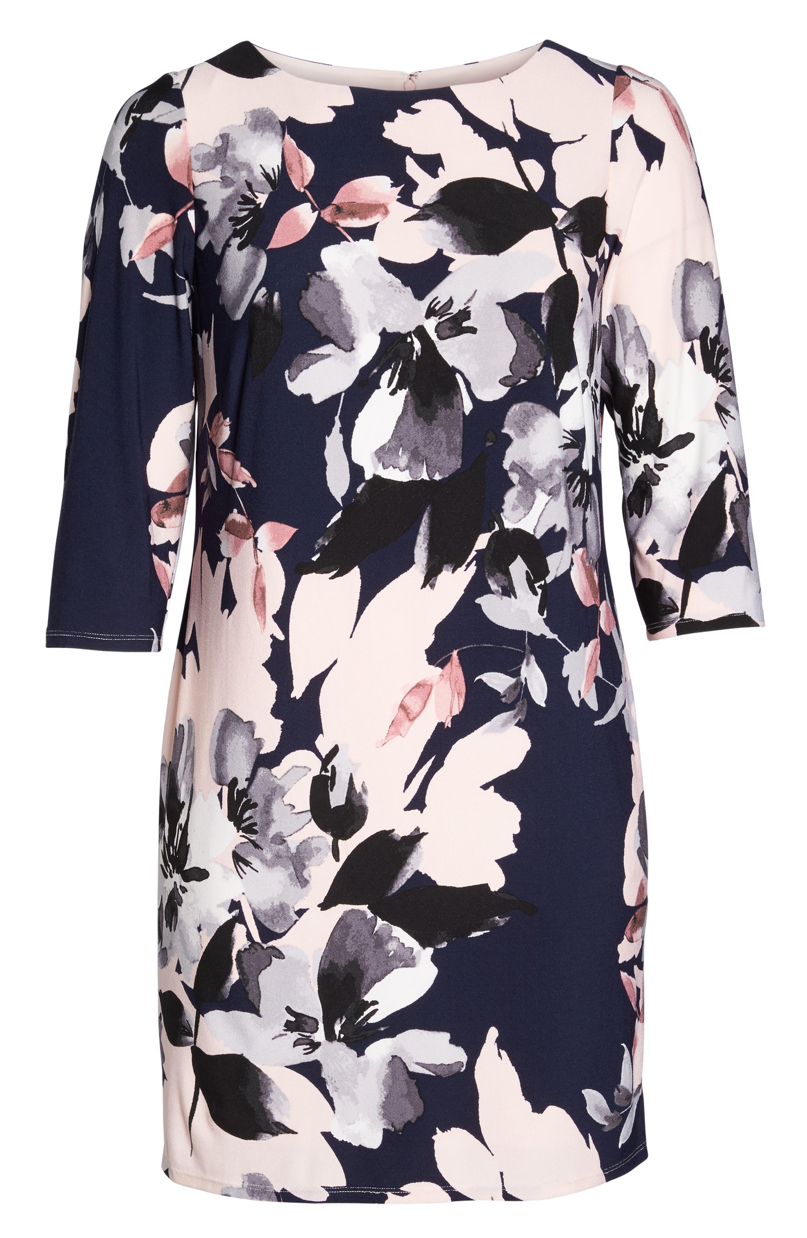 Floral Knit Sheath Dress,                             Alternate thumbnail 6, color,                             Navy Multi