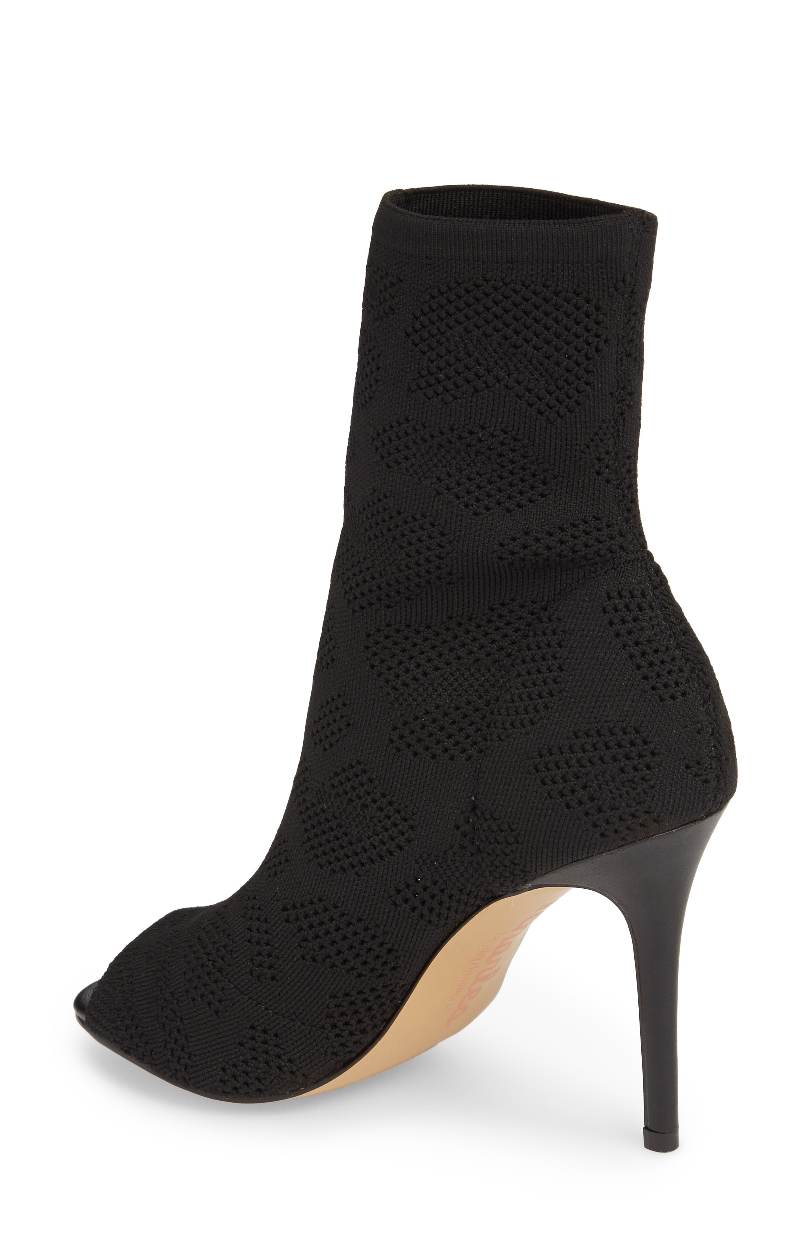 Ranger Sock Knit Open Toe Bootie,                             Alternate thumbnail 2, color,                             Black Stretch Fabric