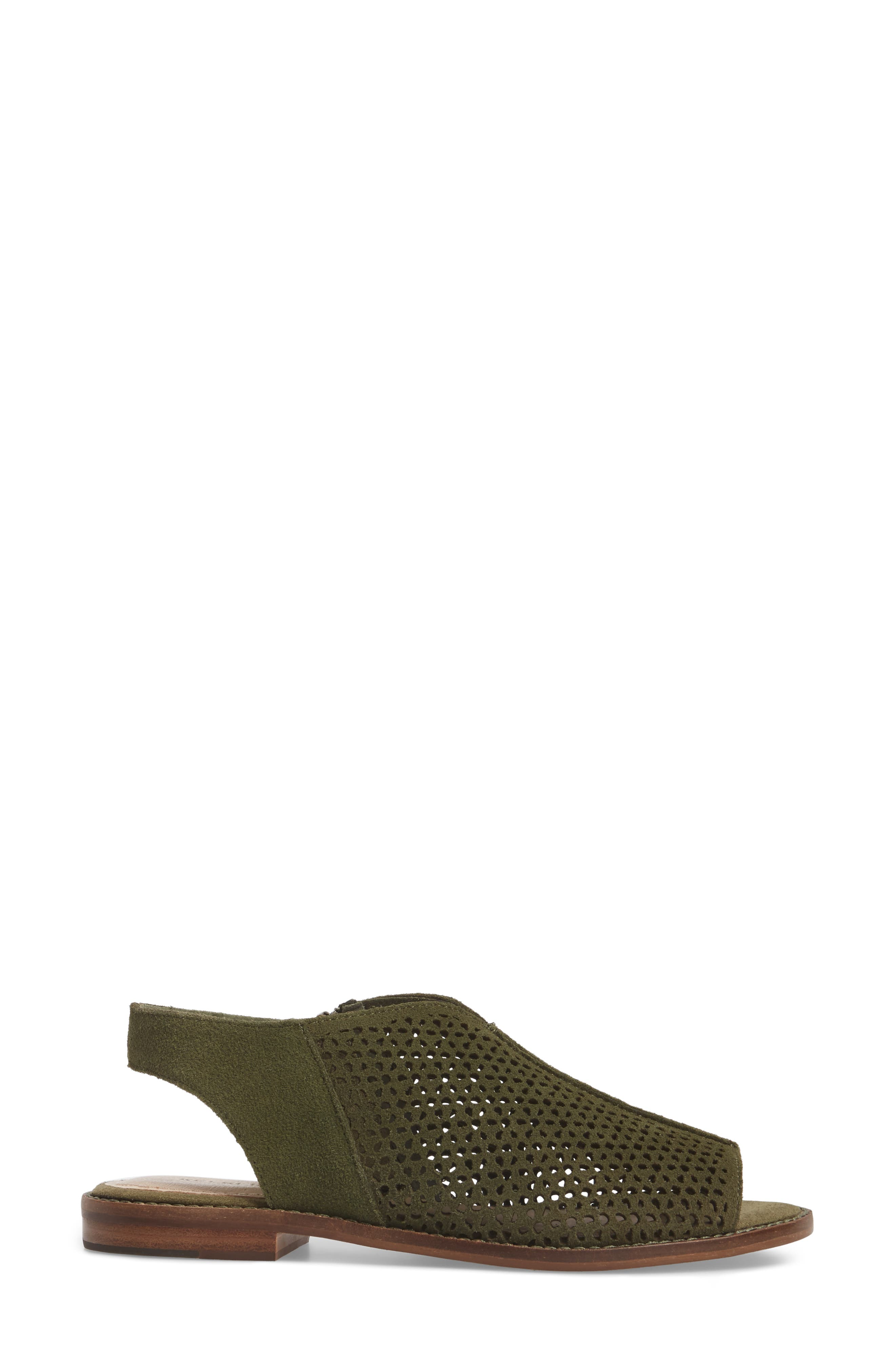 Seneca Perforated Sandal,                             Alternate thumbnail 3, color,                             Olive