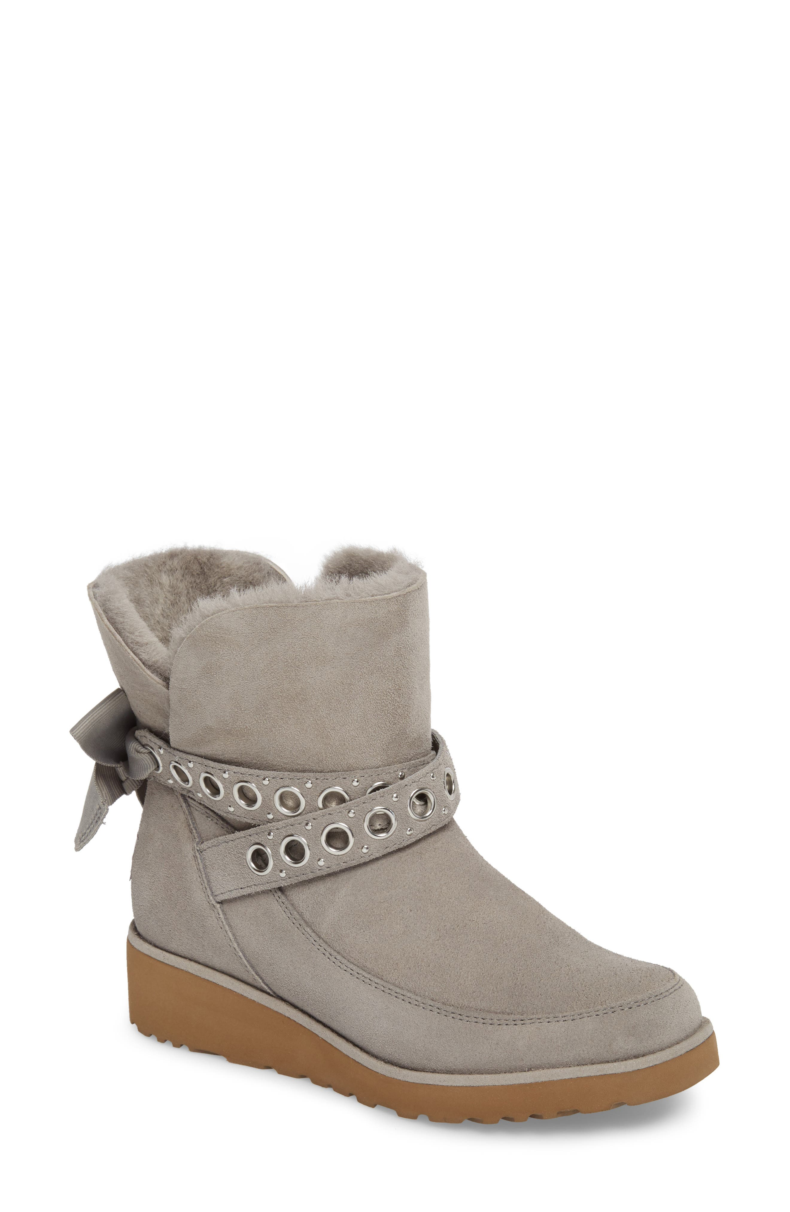 Alisia Grommet Bow Boot,                         Main,                         color, Seal Suede