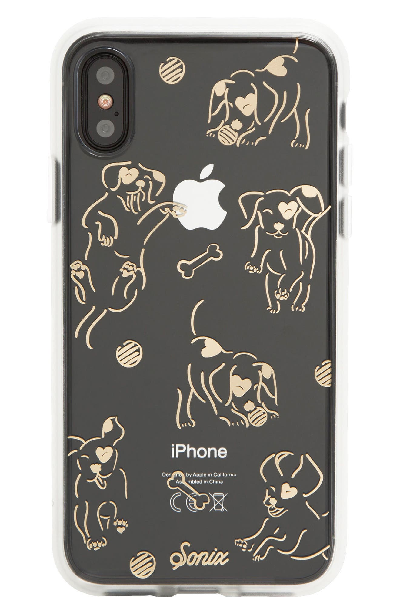 Hush Puppy iPhone X Case,                             Main thumbnail 1, color,                             Clear/ Gold