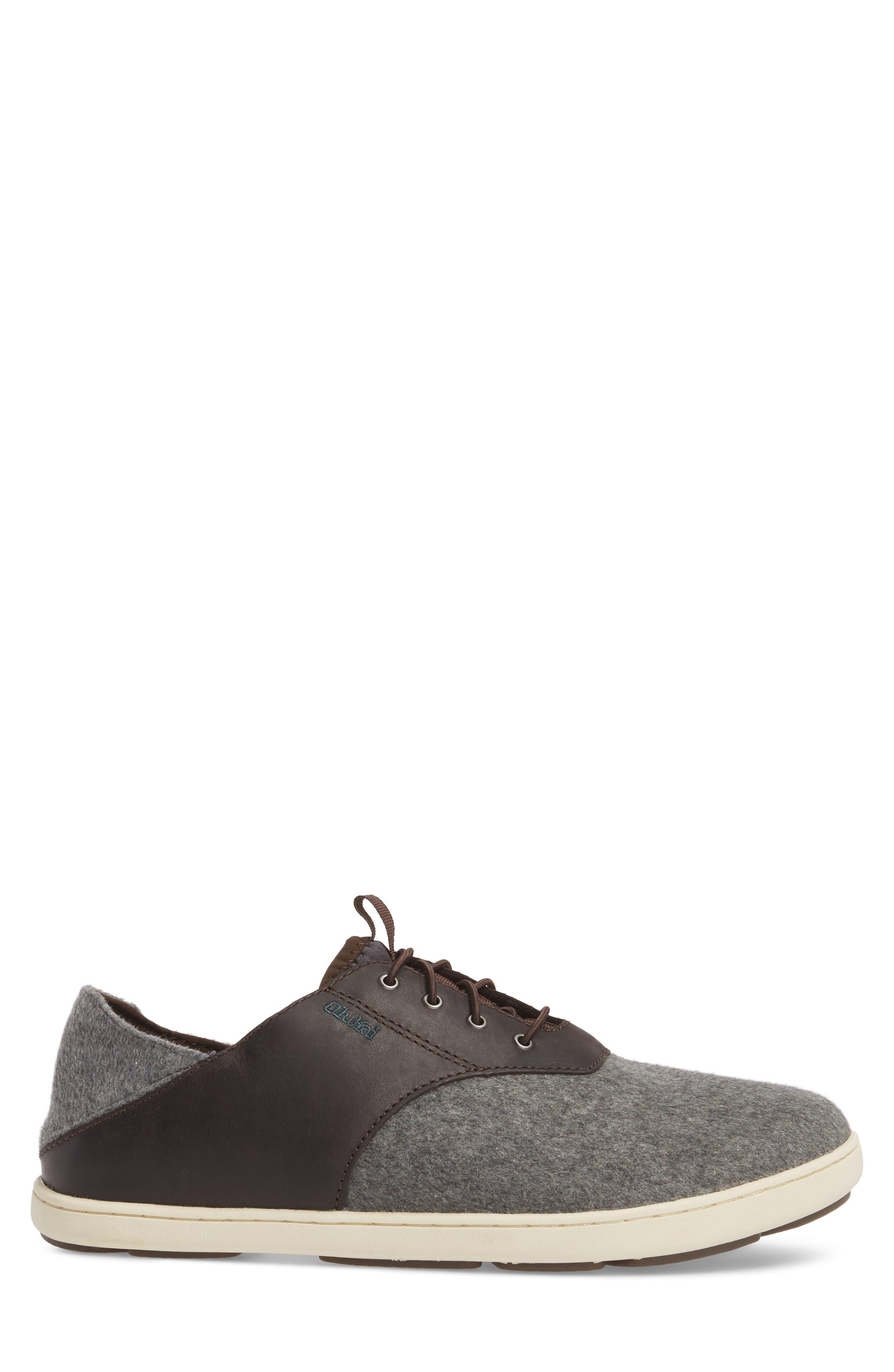 Nohea Moku Hulu Sneaker,                             Alternate thumbnail 3, color,                             Dark Roast/ Charcoal Wool