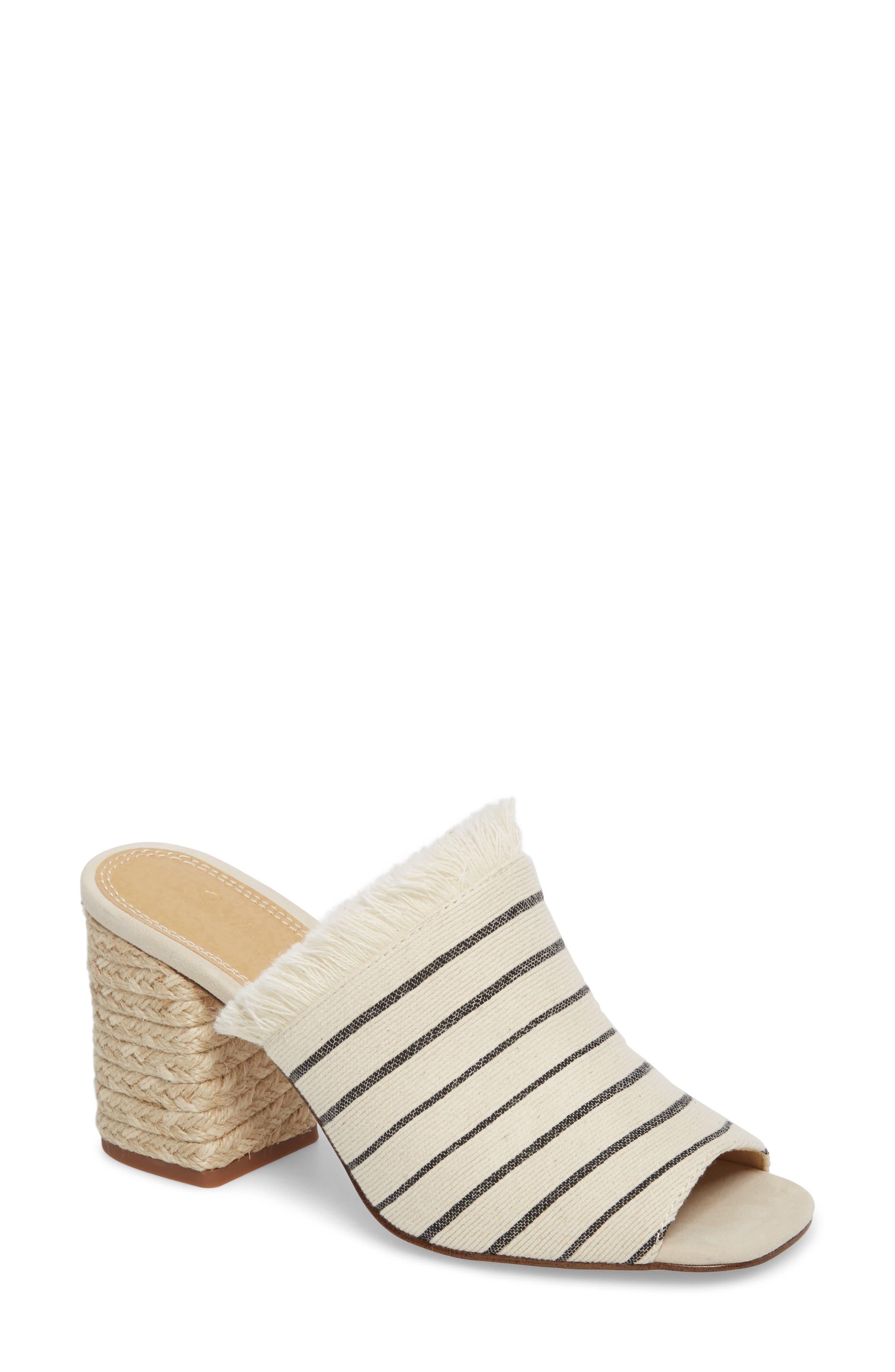 Baron Fringed Block Heel Slide,                             Main thumbnail 1, color,                             Cream Leather