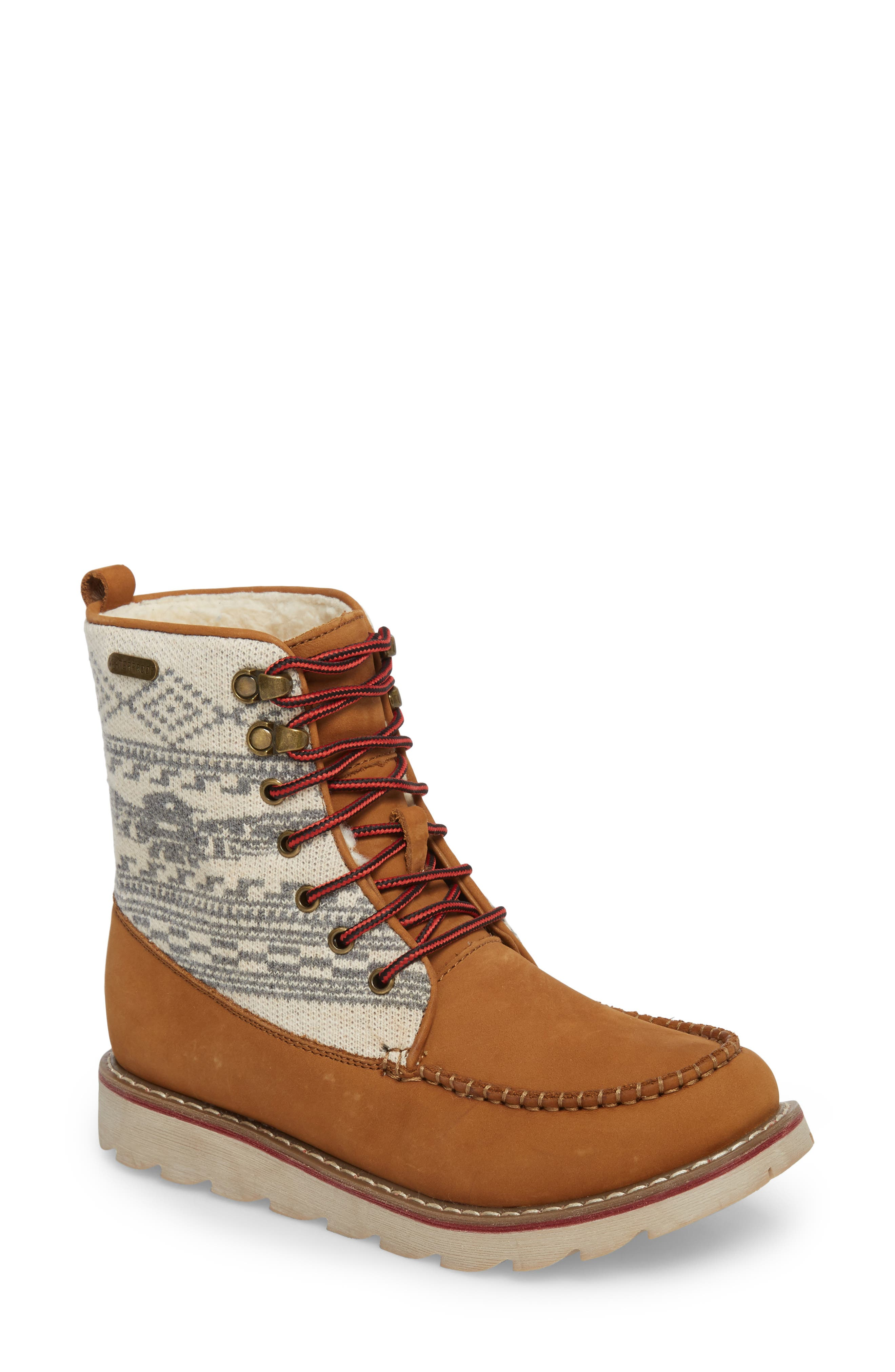 Patterned Waterproof Snow Boot,                             Main thumbnail 1, color,                             Tan Leather