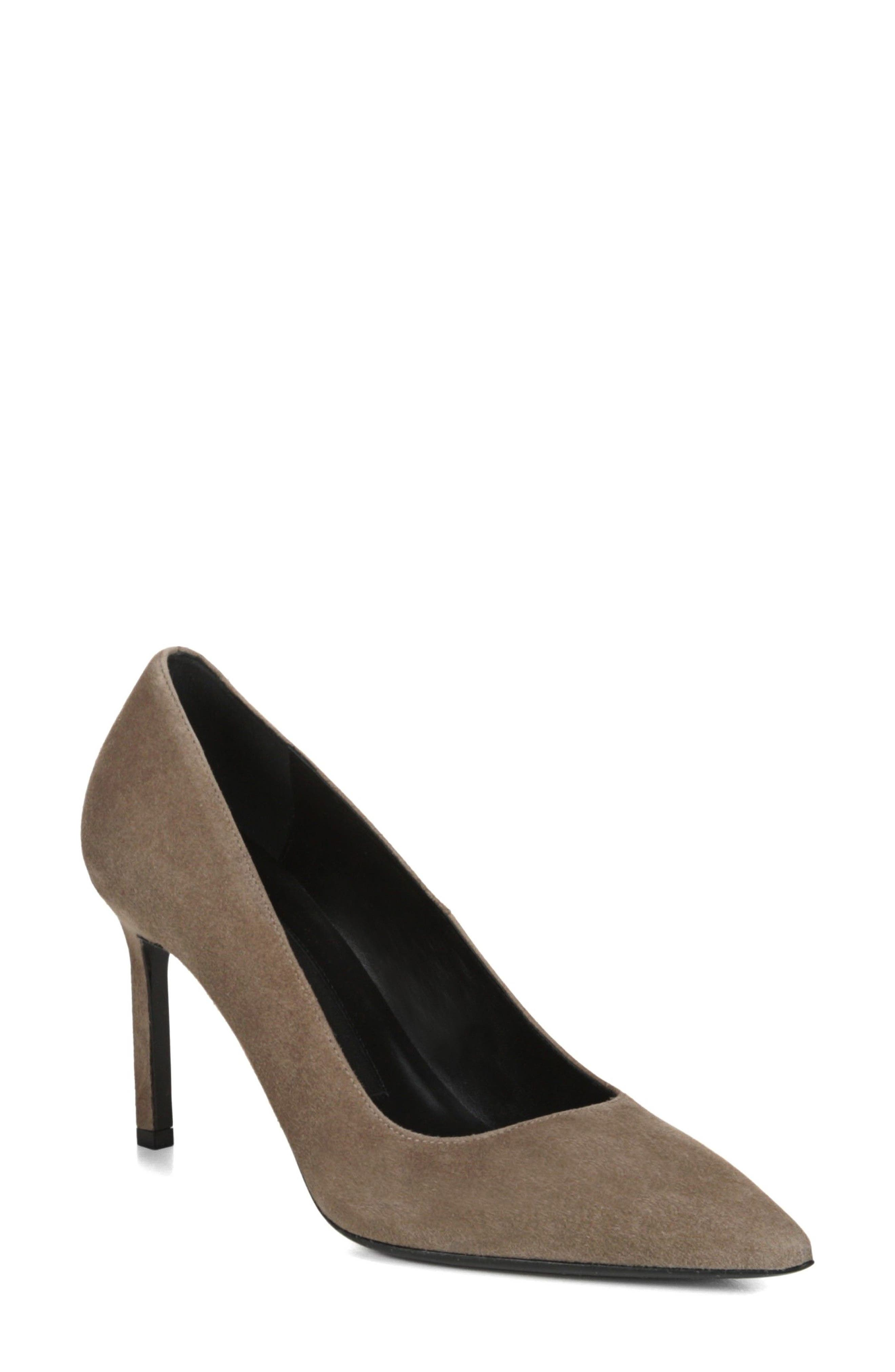 Nikole Pointy Toe Pump,                         Main,                         color, Mink Suede