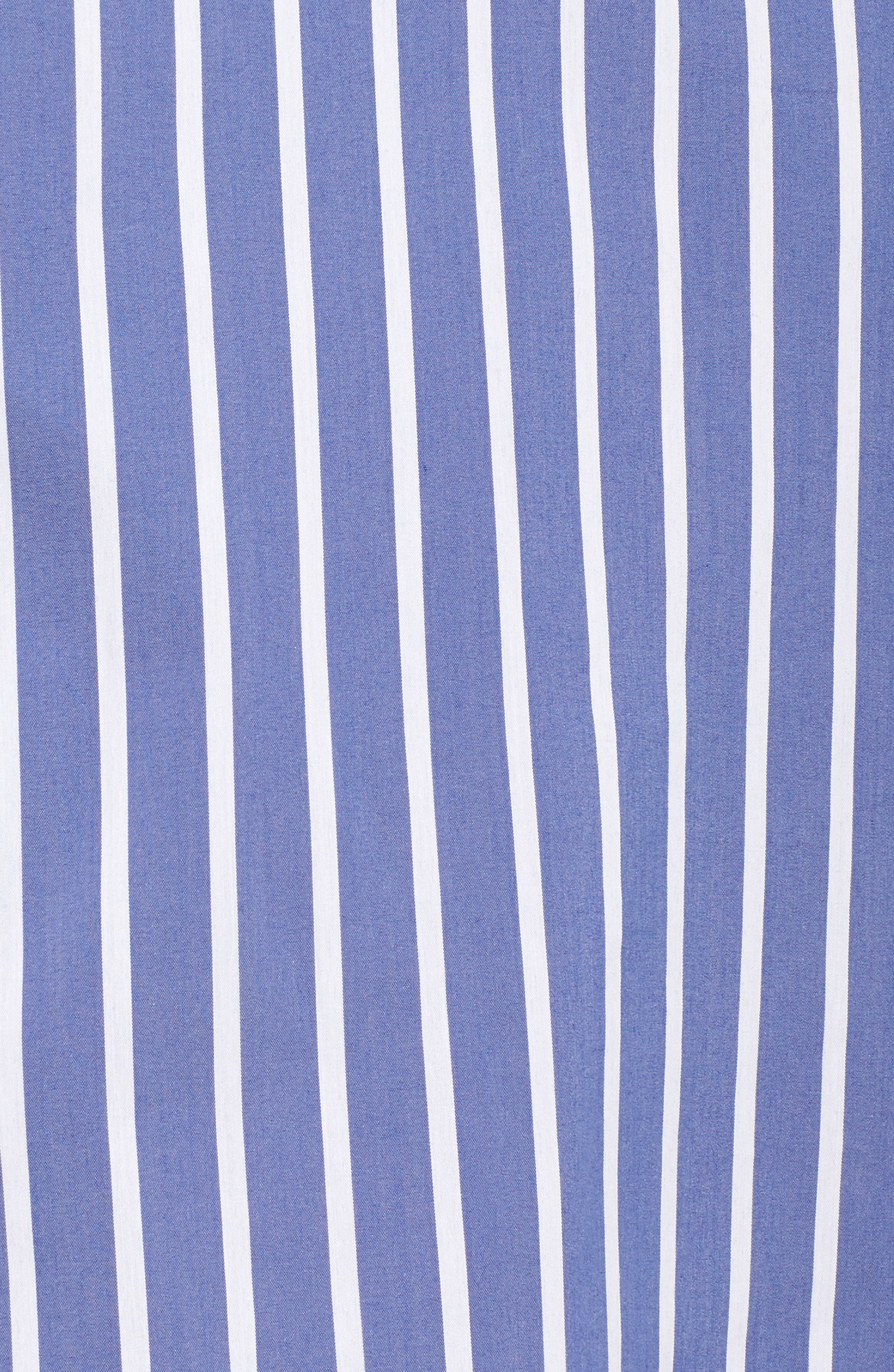 Ruffle Stripe Shirtdress,                             Alternate thumbnail 5, color,                             Blue White Stripe
