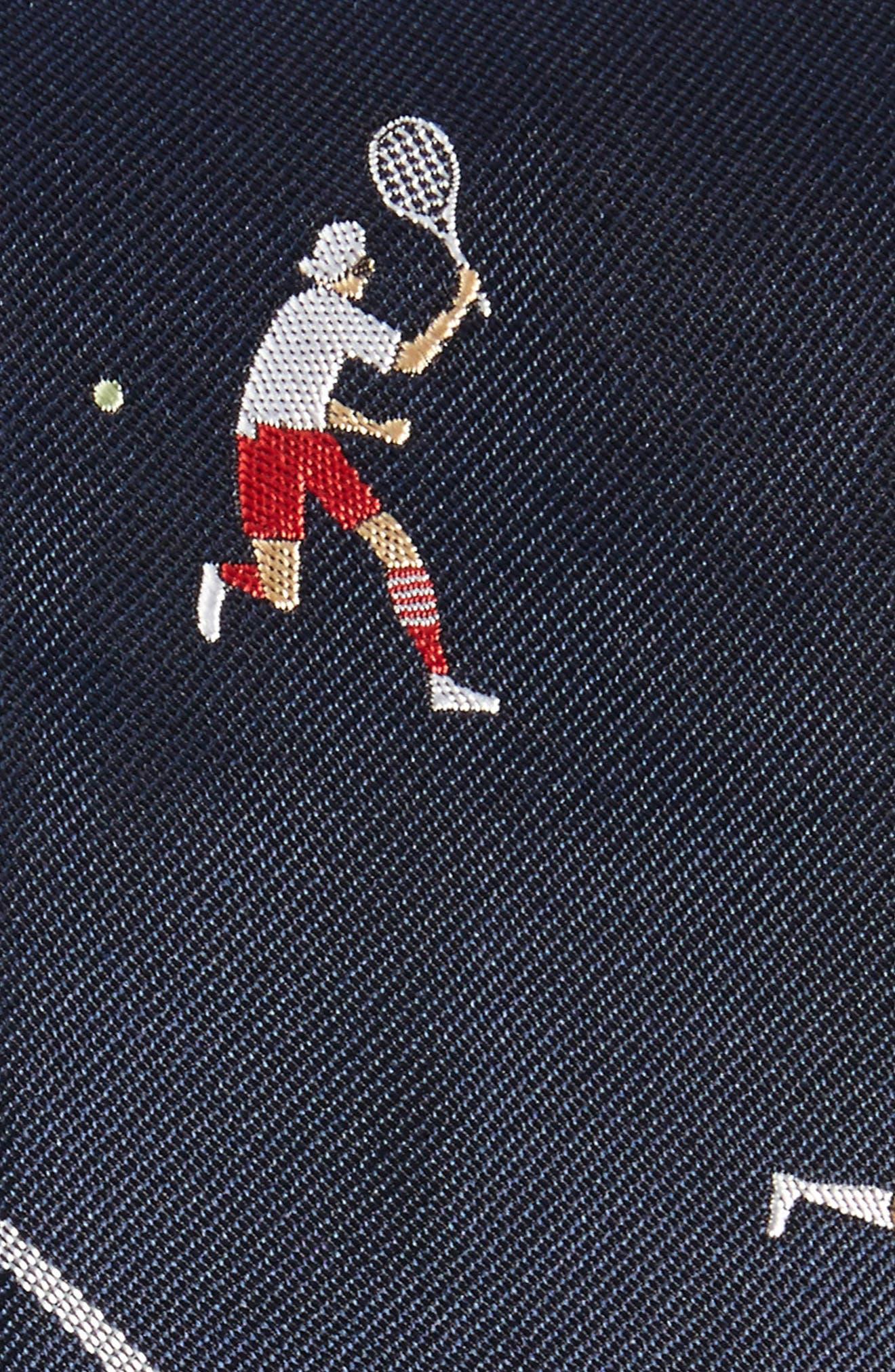Tennis Player Silk Skinny Tie,                             Alternate thumbnail 2, color,                             Navy