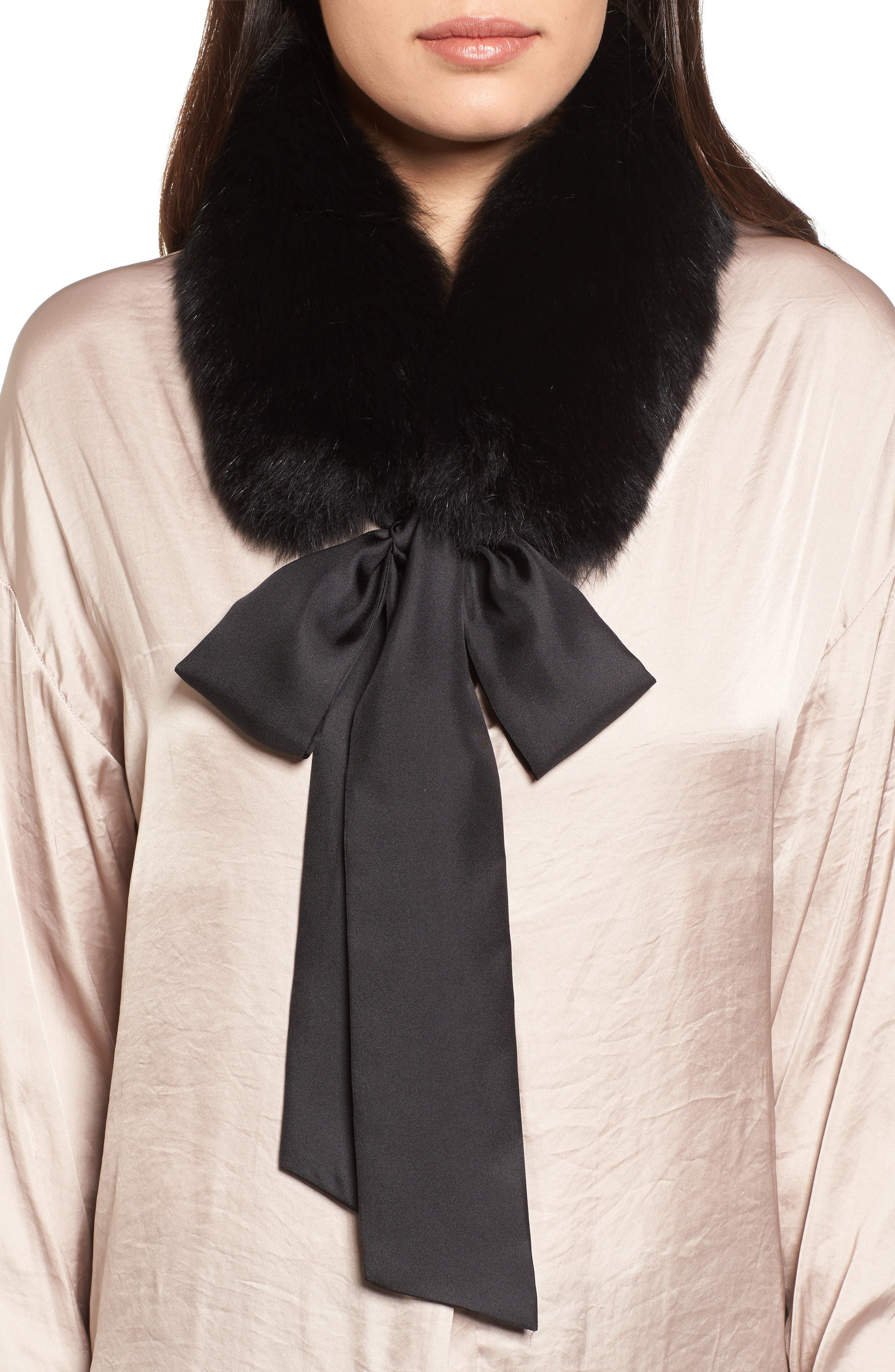 Cecilia Genuine Fox Fur Collar,                             Main thumbnail 1, color,                             Black