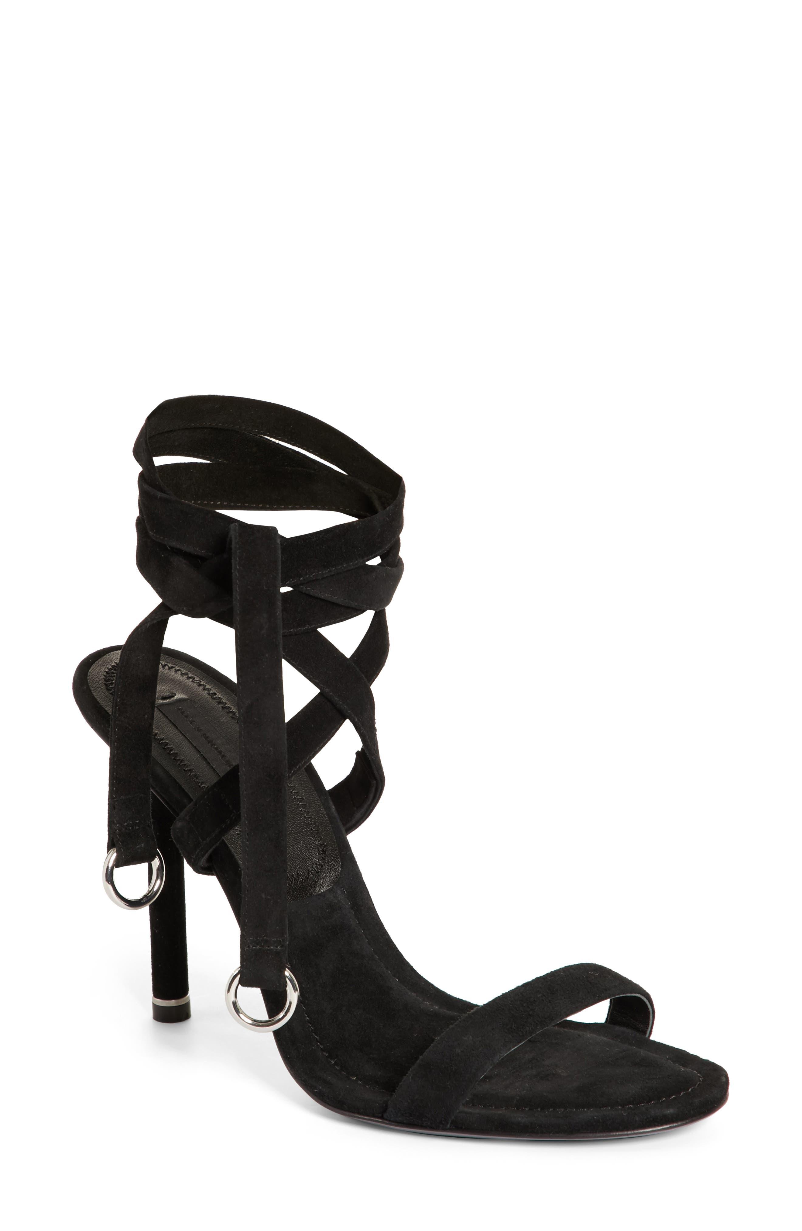 Evie Ankle Tie Sandal,                             Main thumbnail 1, color,                             Black