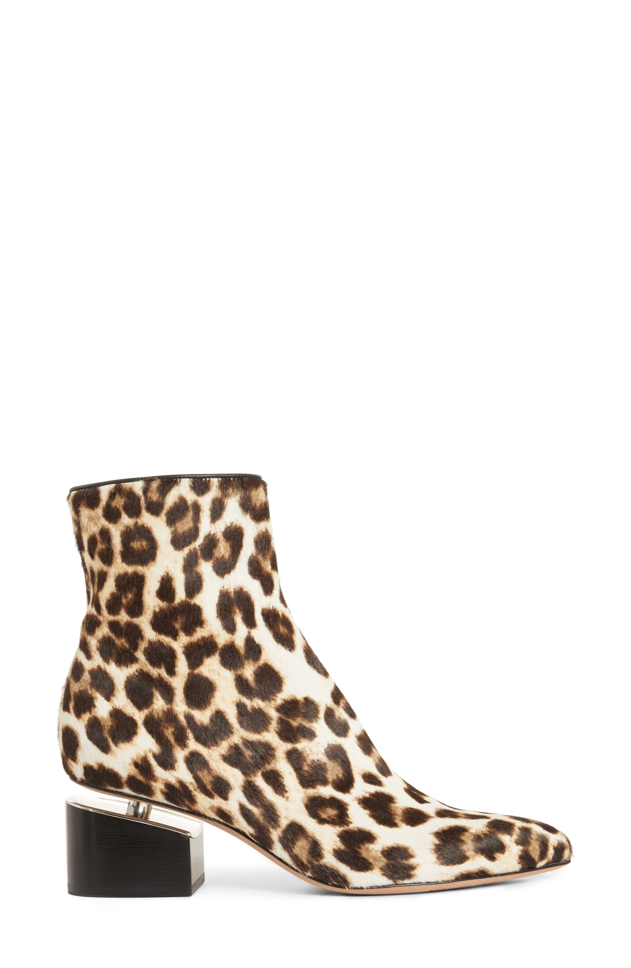 Jude Genuine Calf Hair Bootie,                             Alternate thumbnail 3, color,                             Leopard Print