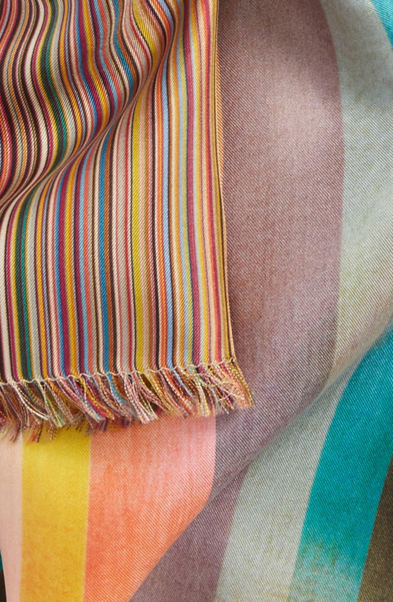 Multistripe Clash Silk Scarf,                             Alternate thumbnail 3, color,                             Pink Multi