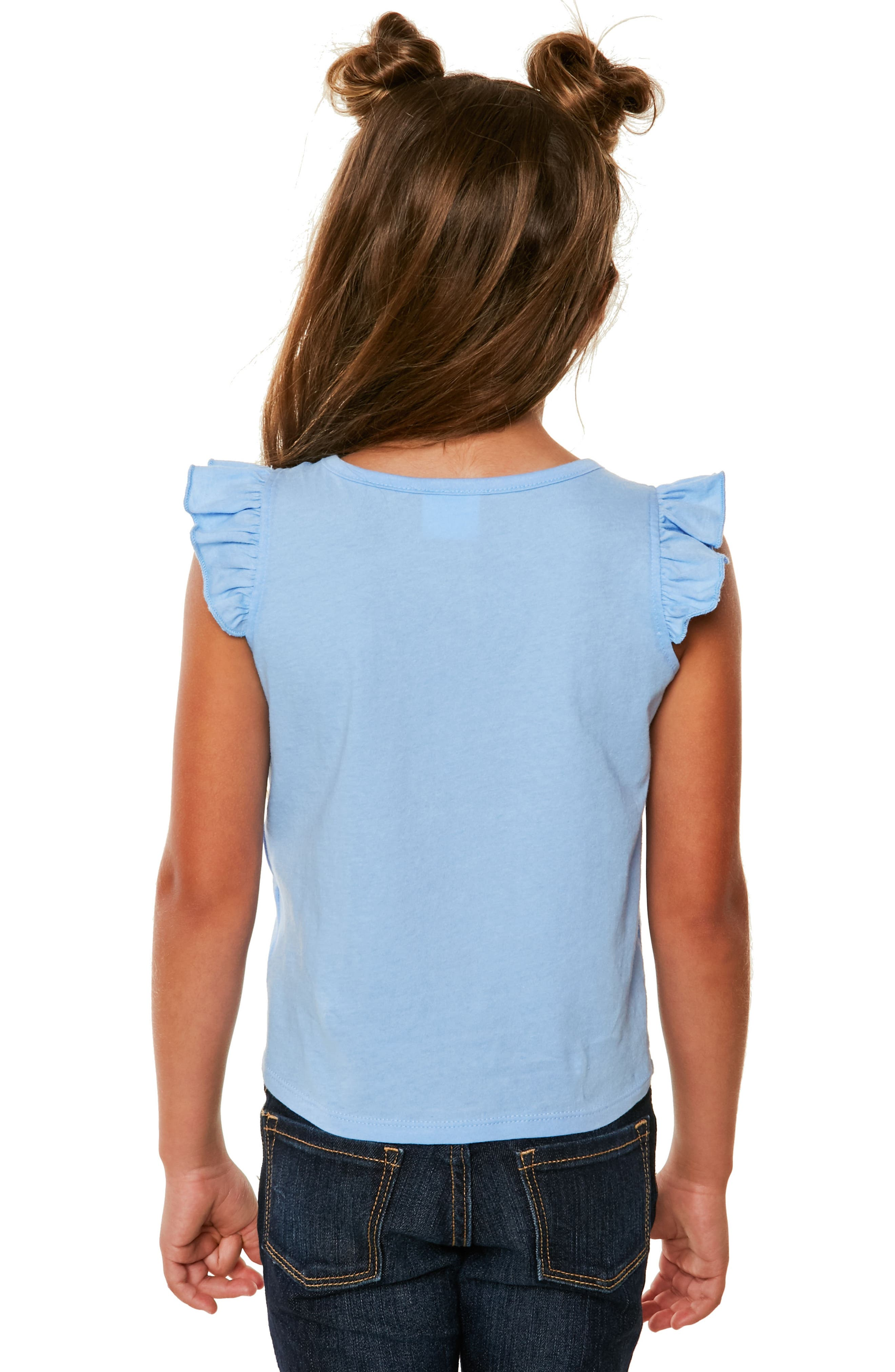 Sunday Ruffle Graphic Tank,                             Alternate thumbnail 4, color,                             Bleached Denim- Ctb