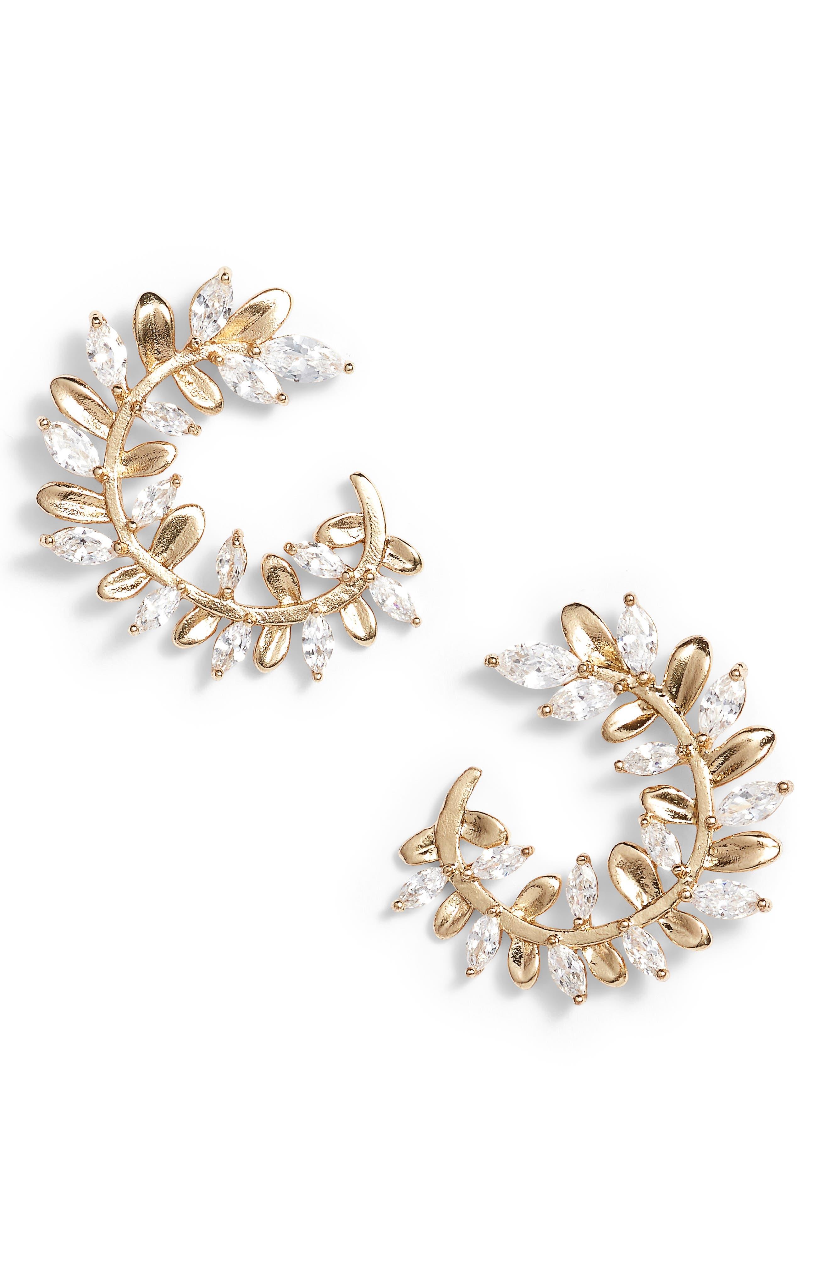 Crystal Vine Earrings,                             Main thumbnail 1, color,                             Gold