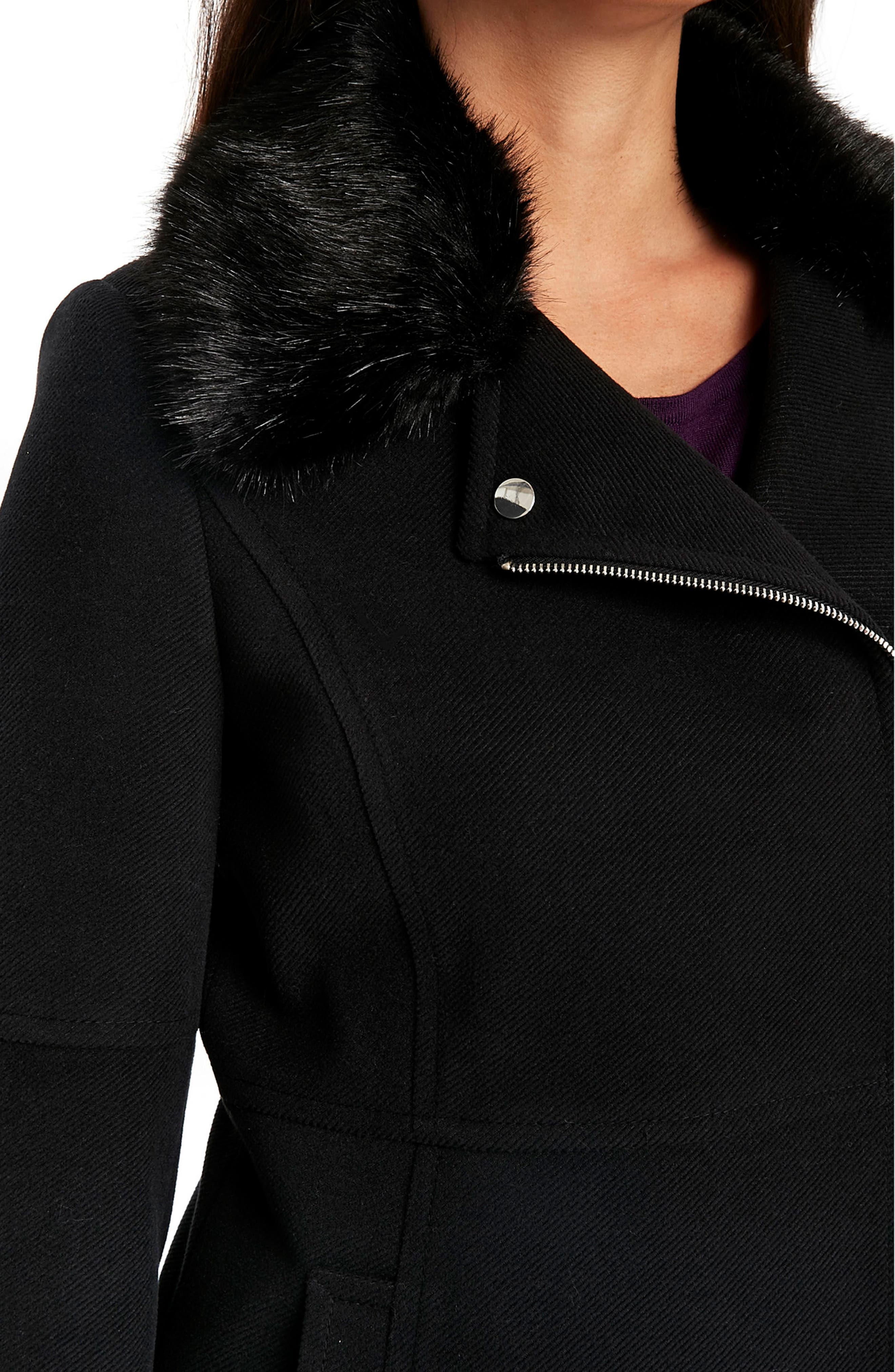 Twill Biker Jacket with Faux Fur Collar,                             Alternate thumbnail 3, color,                             Black