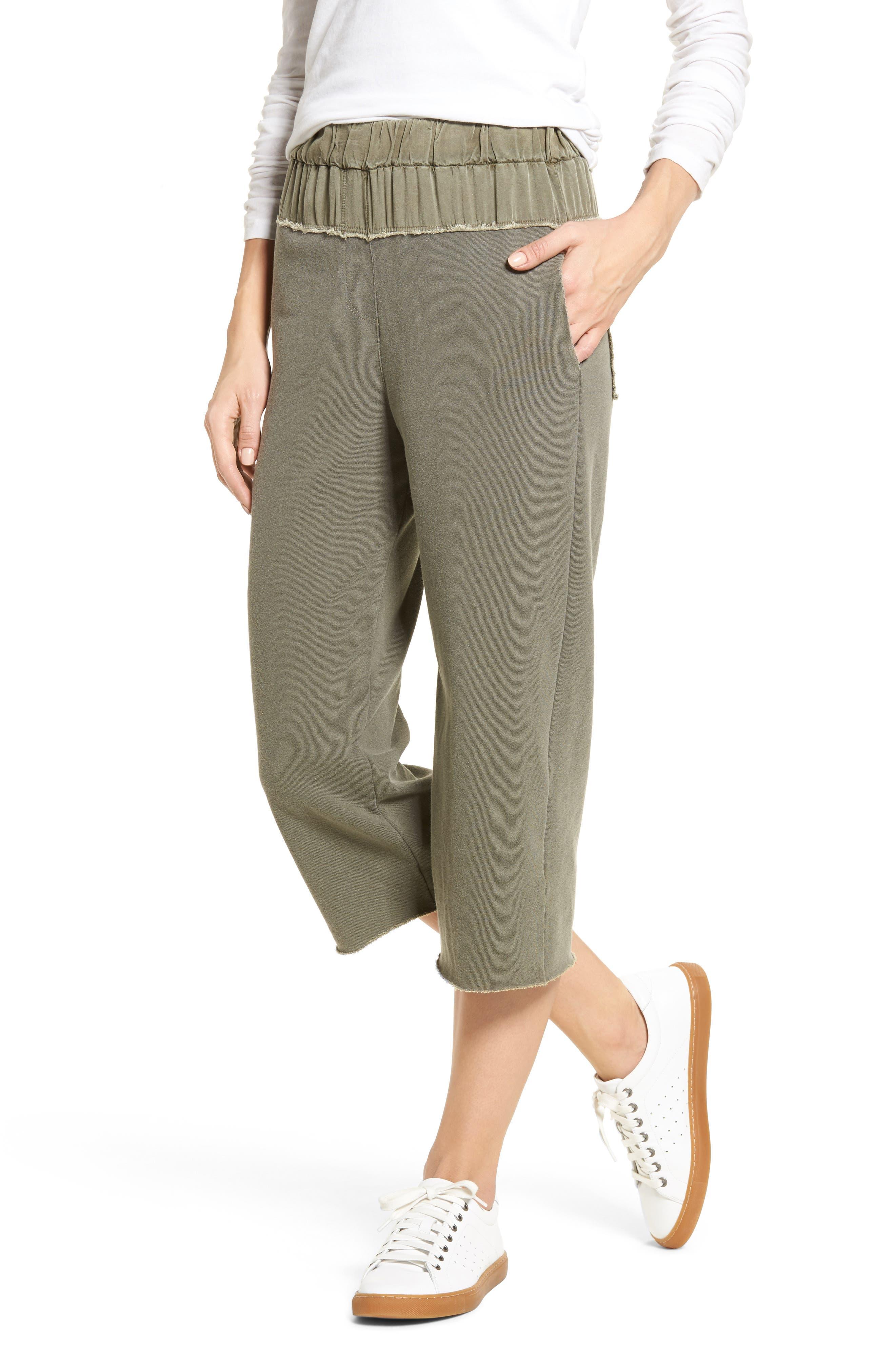 Crop Terry Sweatpants,                         Main,                         color, Fern