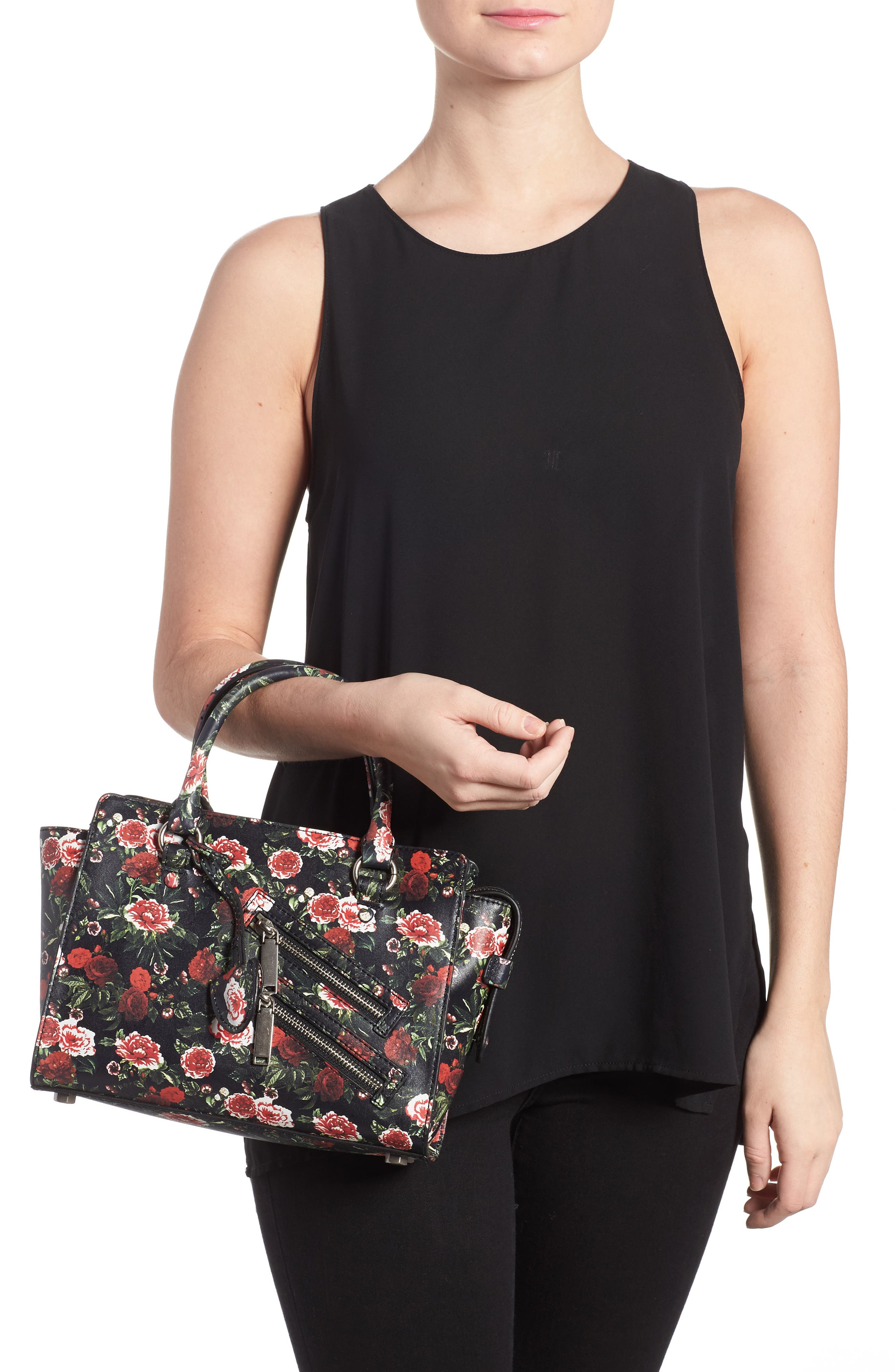 Small Jamie Leather Satchel,                             Alternate thumbnail 2, color,                             Rose Floral