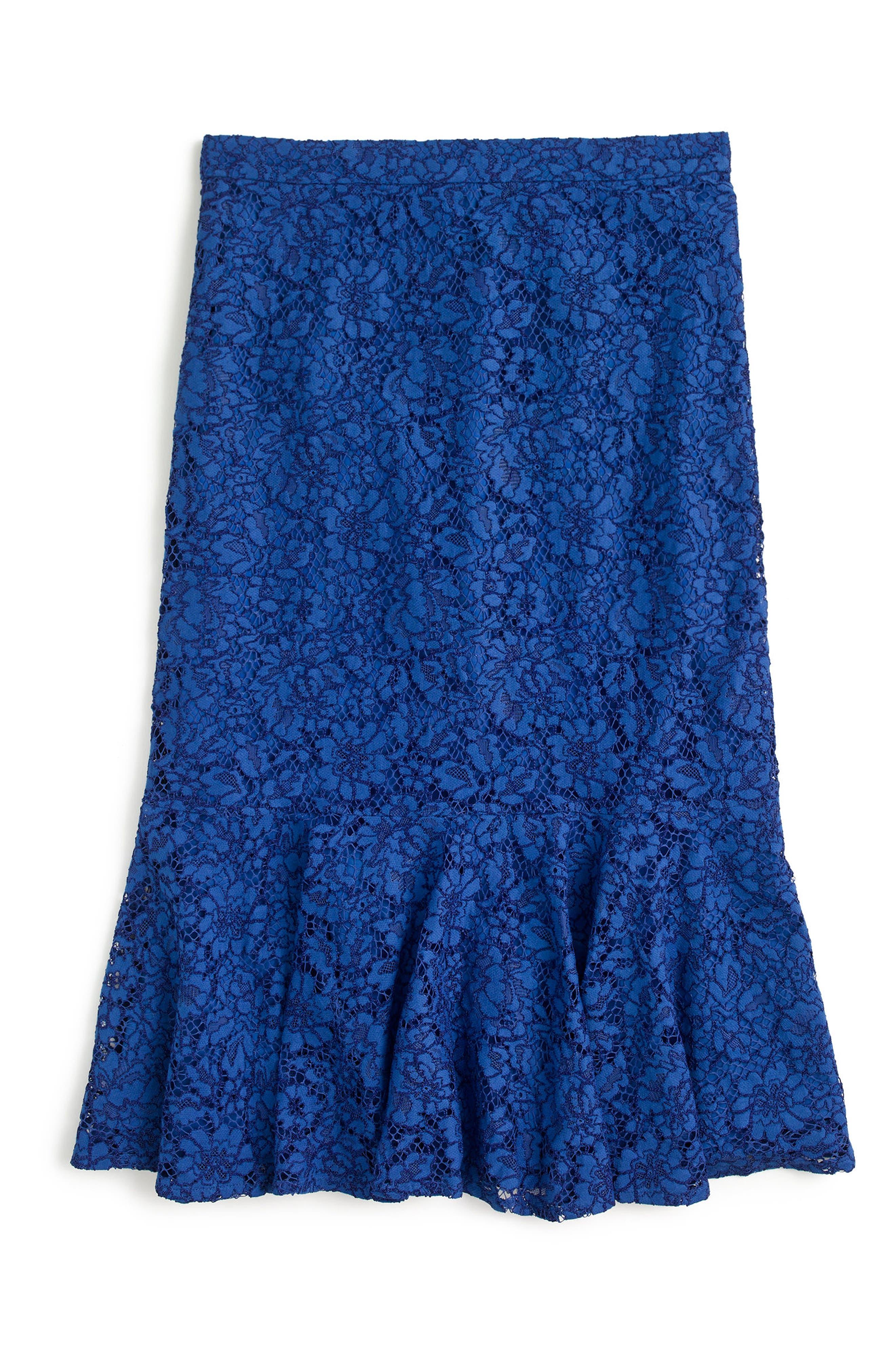 J.Crew Lace Trumpet Skirt,                             Alternate thumbnail 2, color,                             Baroque Blue