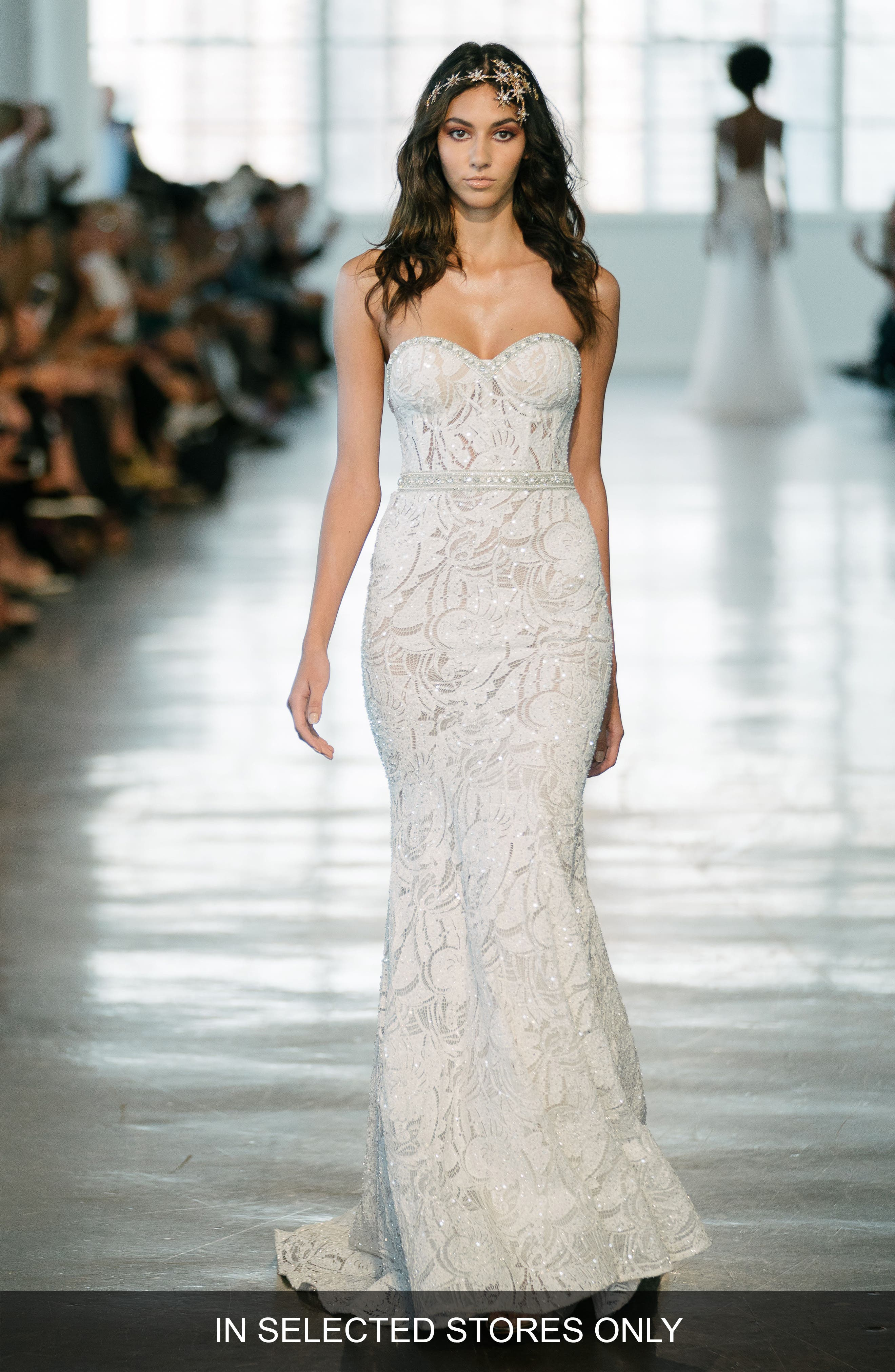 BERTA Crystal Embellished Strapless Lace Trumpet Gown in Ivory