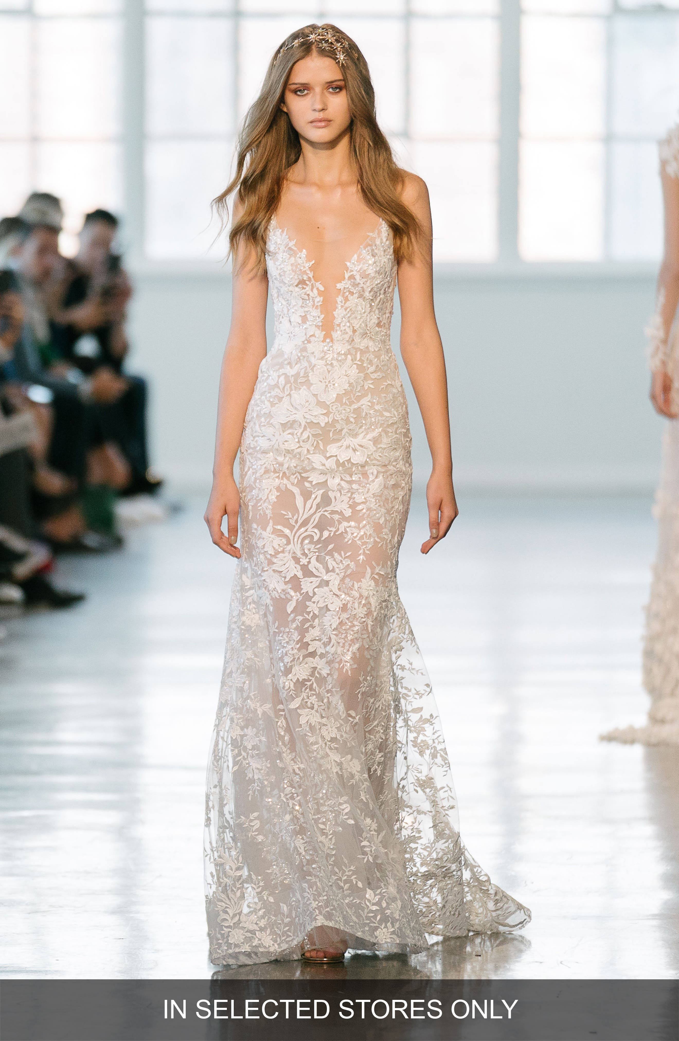 Beaded Lace Spaghetti Strap Gown,                         Main,                         color, Ivory